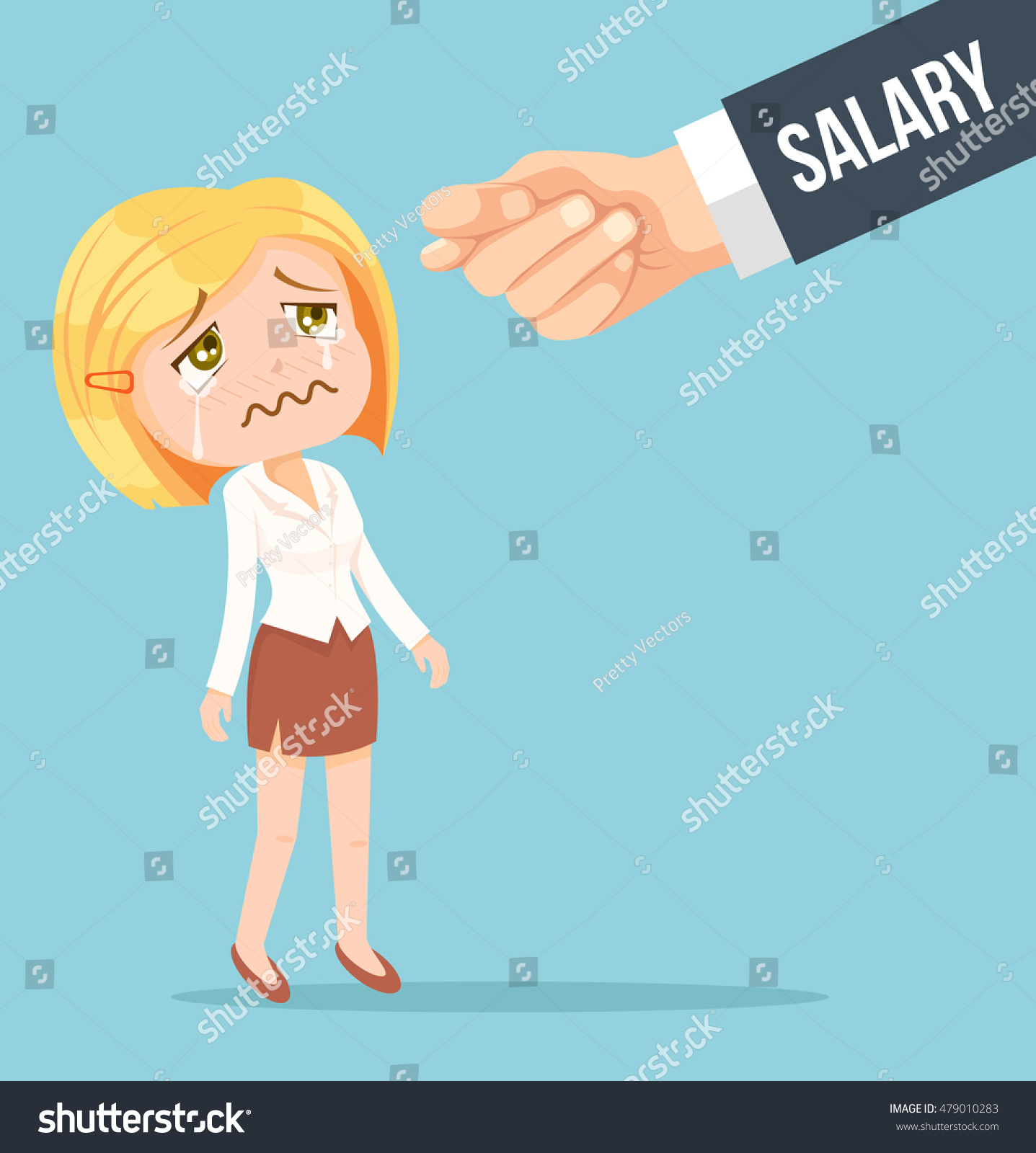 Animation Character Designer Salary : Office worker woman waiting salary vector stock