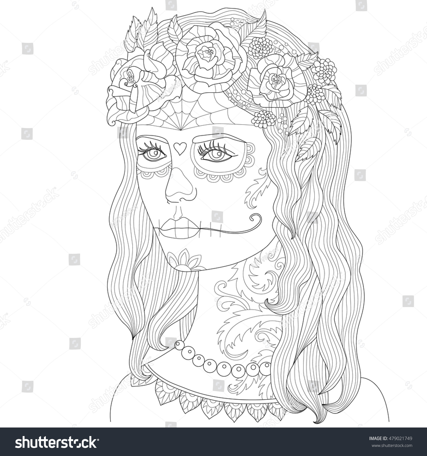 page coloring adults beautiful makeup stock vector 479021749