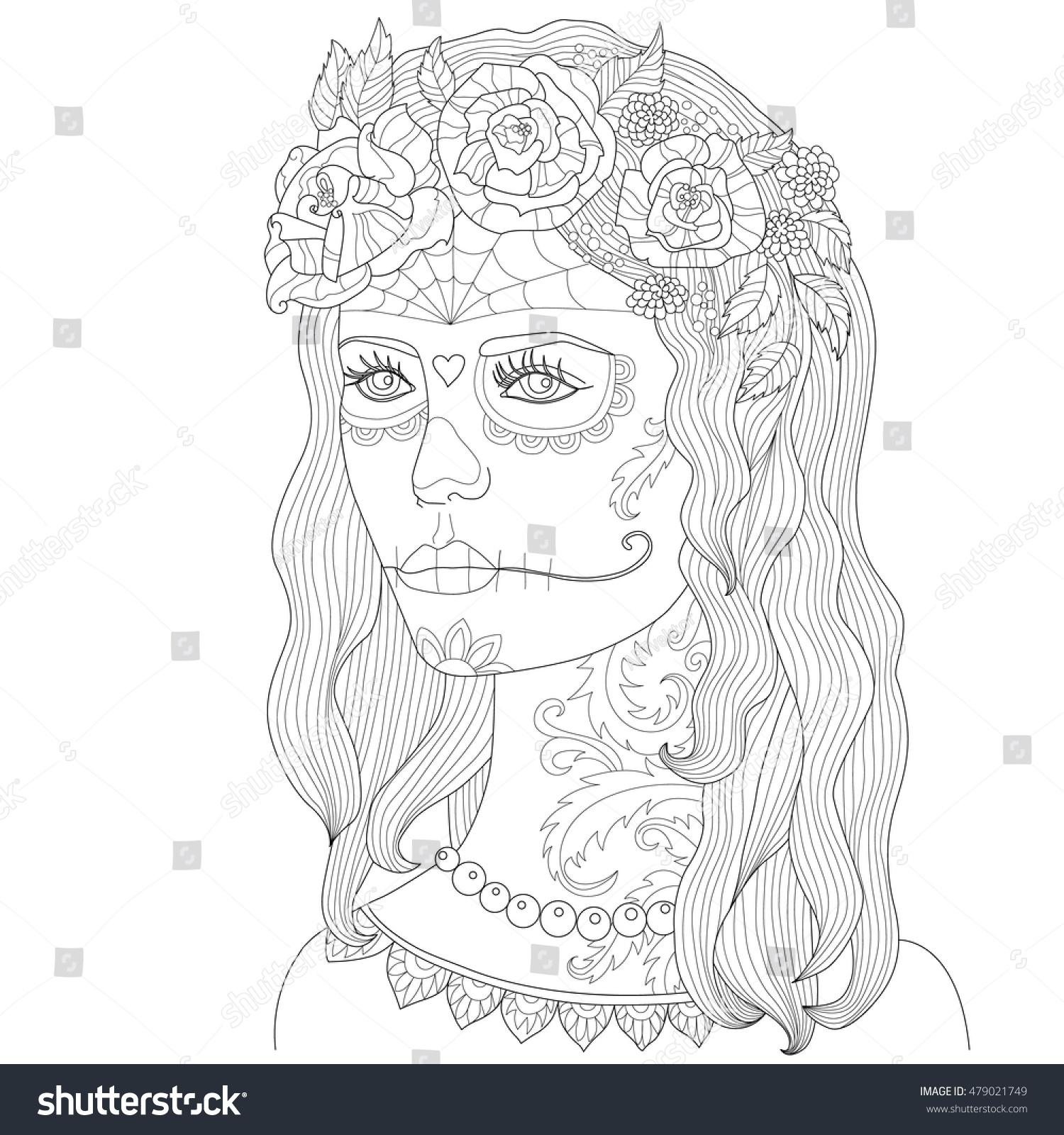 Page Coloring Adults Beautiful Girl Makeup Stock Vector 479021749