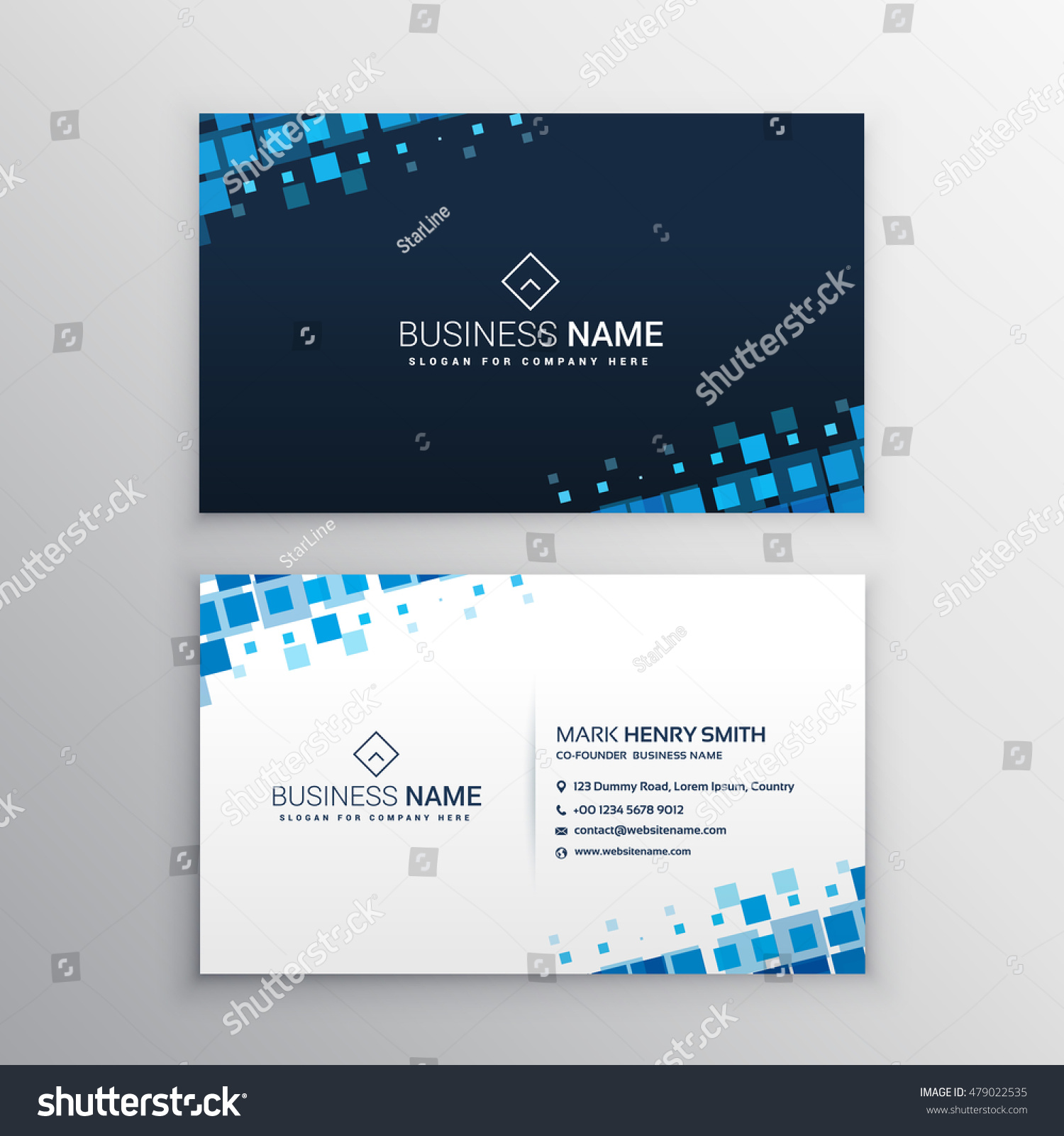 Royalty-free Abstract business card with blue mosaic… #479022535 ...