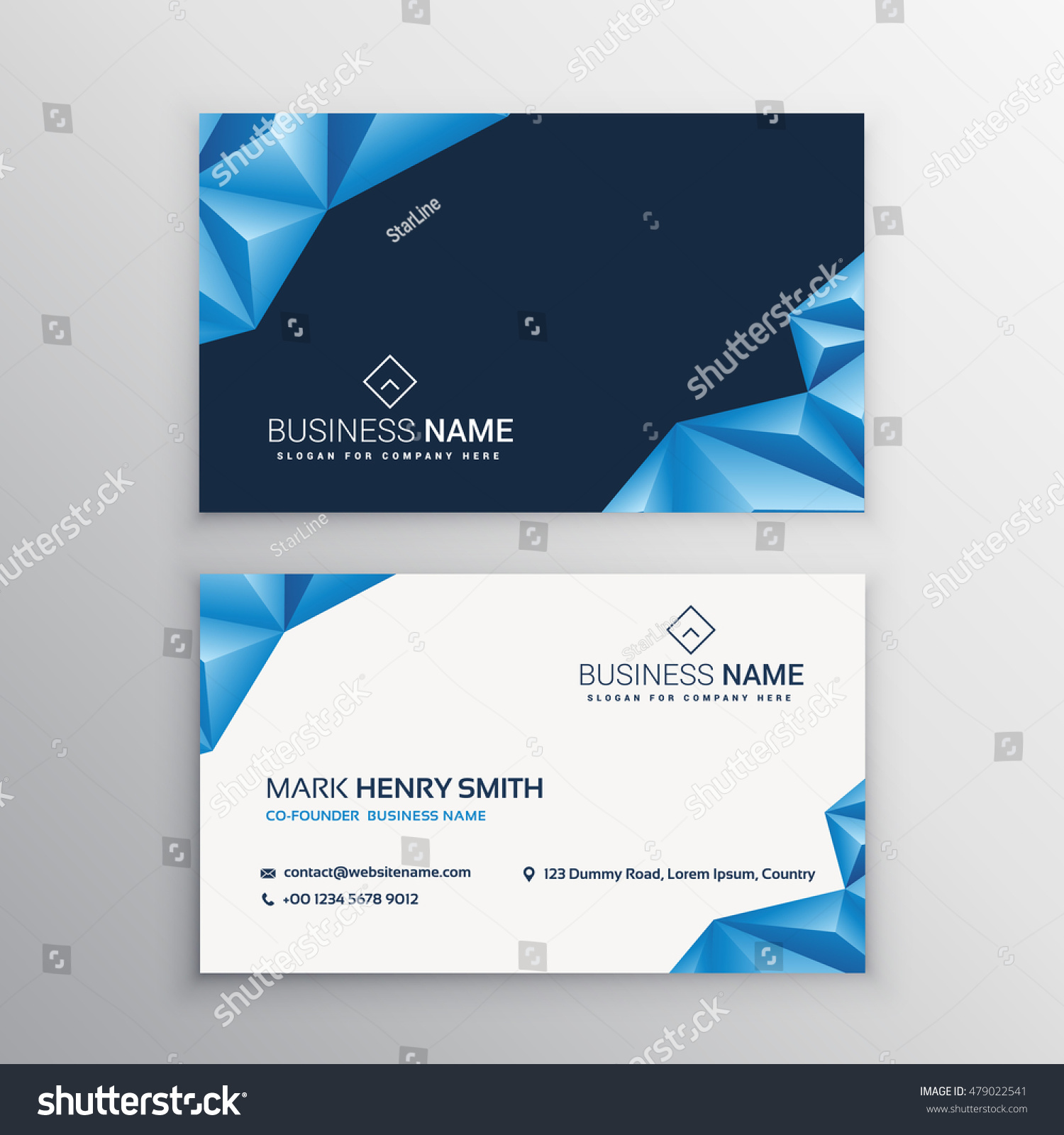 Abstract 3d Triangles Business Card Stock Vector 479022541 ...