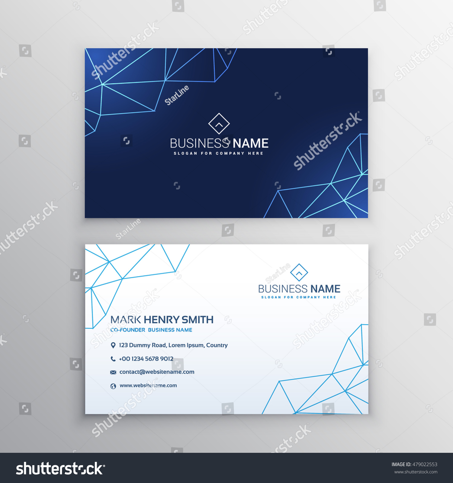 technology business card design template stock vector