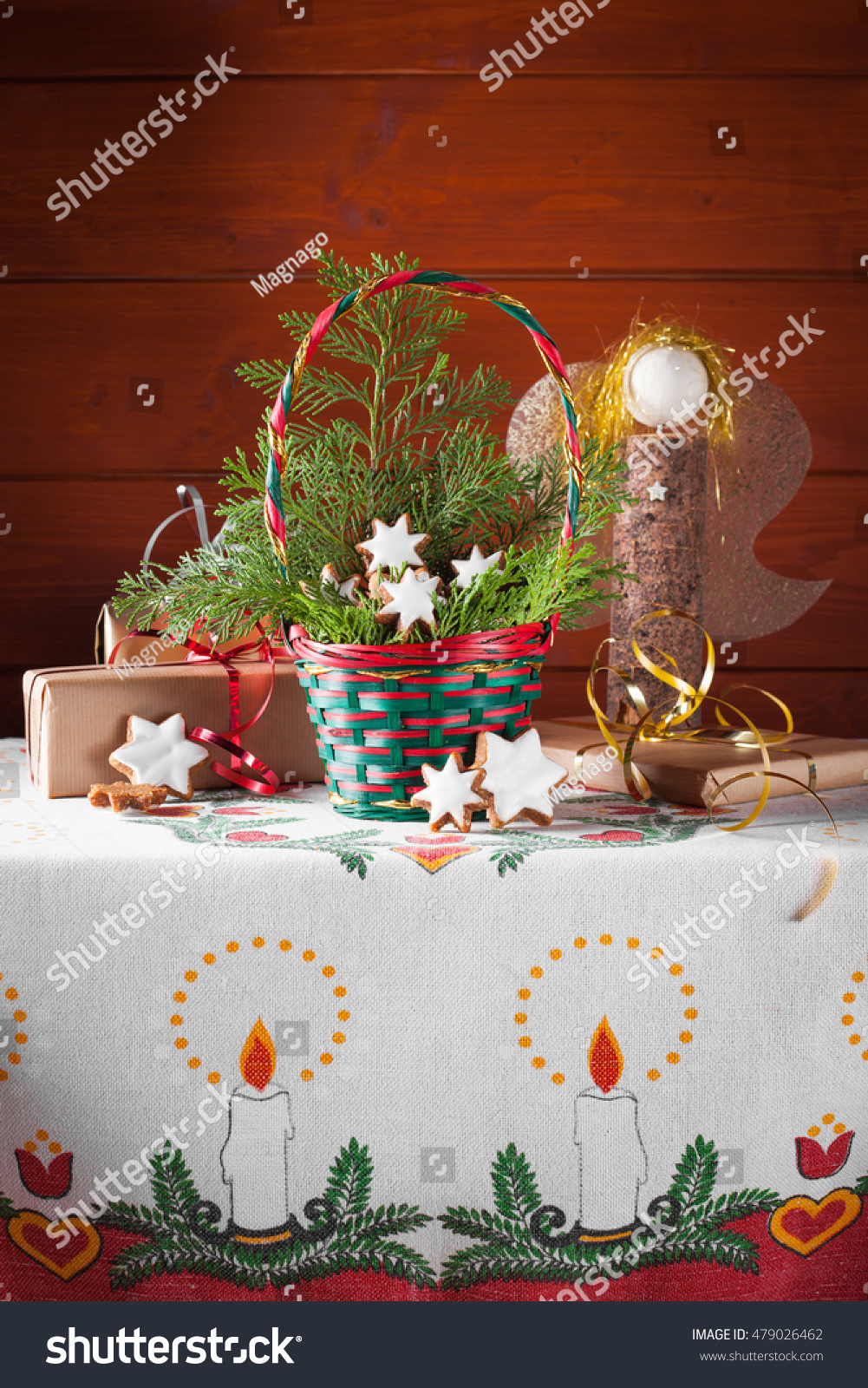 Typical Traditional German Christmas Cookies Zimtstern Stock Photo ...