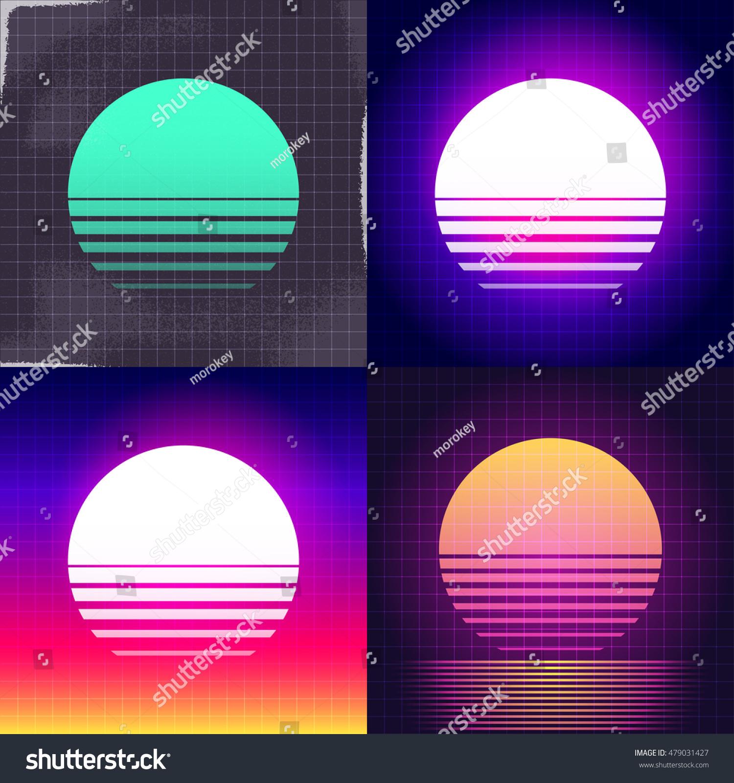 Digitalrevolution Blog Retro Sci Fi: 80s Retro Scifi Sunset Background Vhs Stock Vector