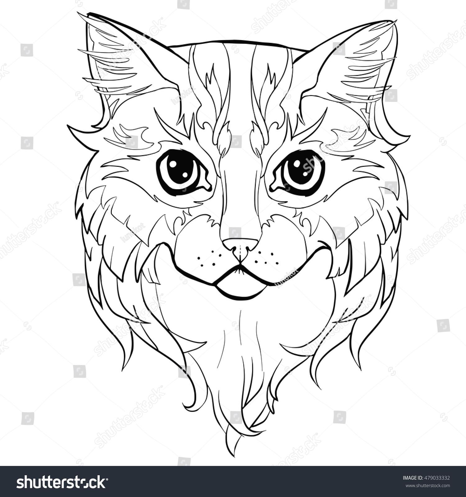 Cat Head Hand Drawn Coloring Cat Stock Vector 479033332 ...