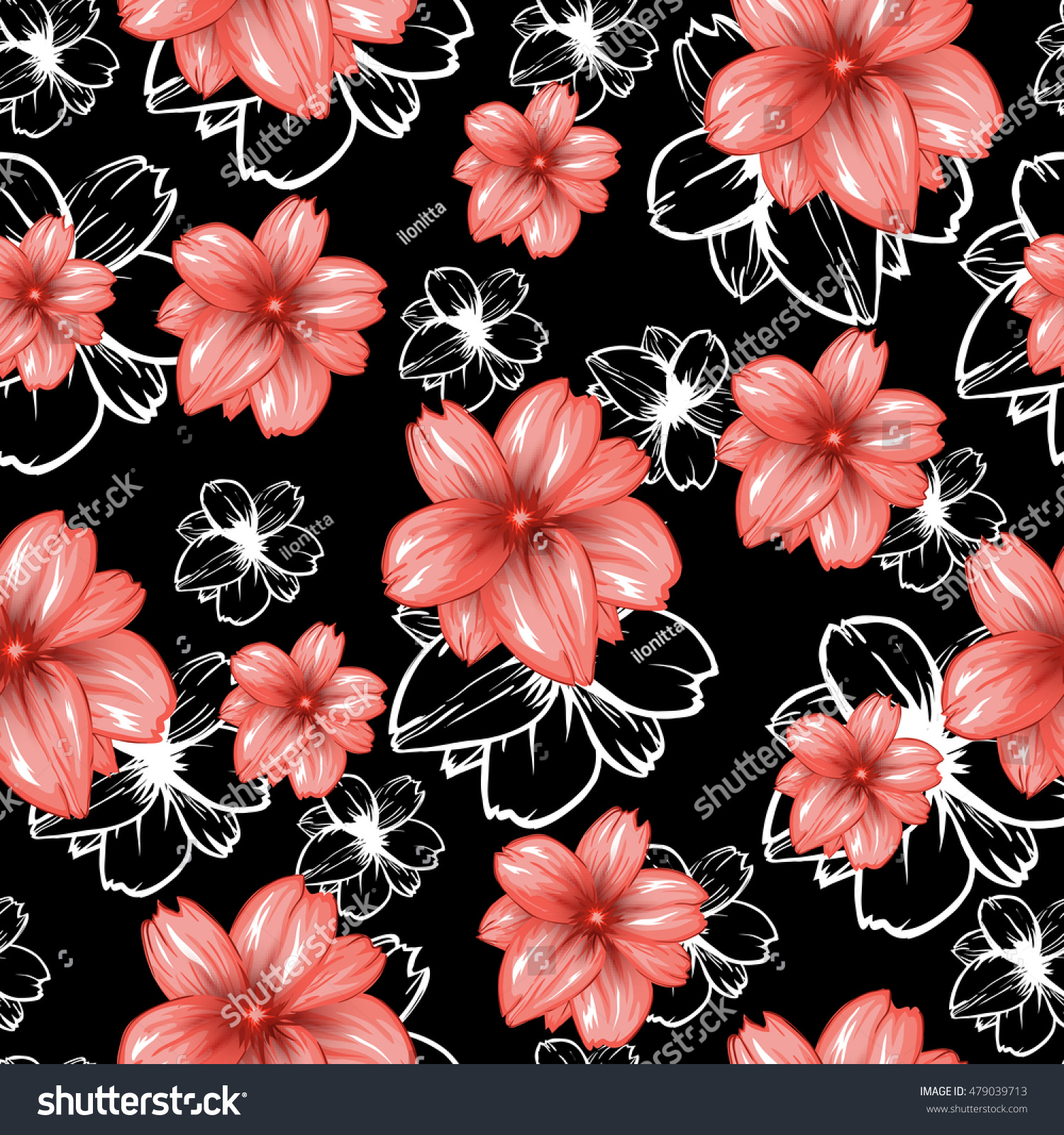 Seamless pattern pink flowers on black stock vector royalty free seamless pattern with pink flowers on the black backgroundctor fashion fabric textile design mightylinksfo
