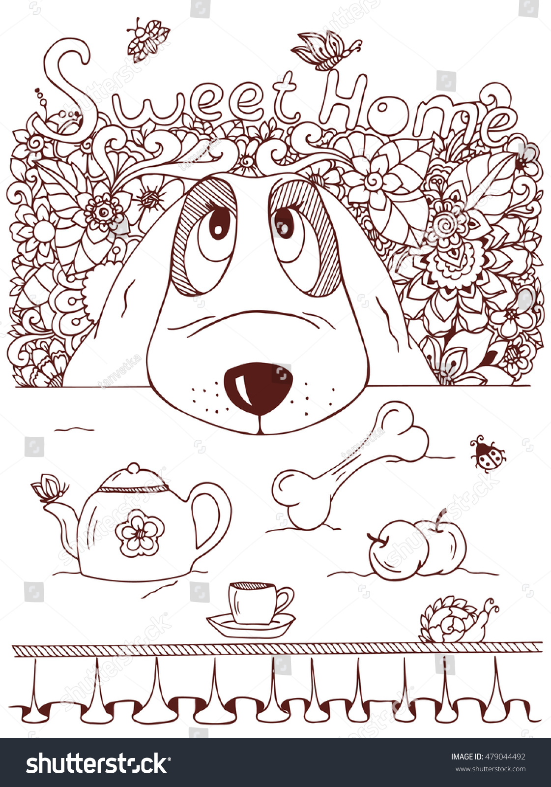 Coloring book kitchen - Vector Illustration Zentangl Dog And Kitchen Table Doodle Flowers Meditative Exercise Coloring