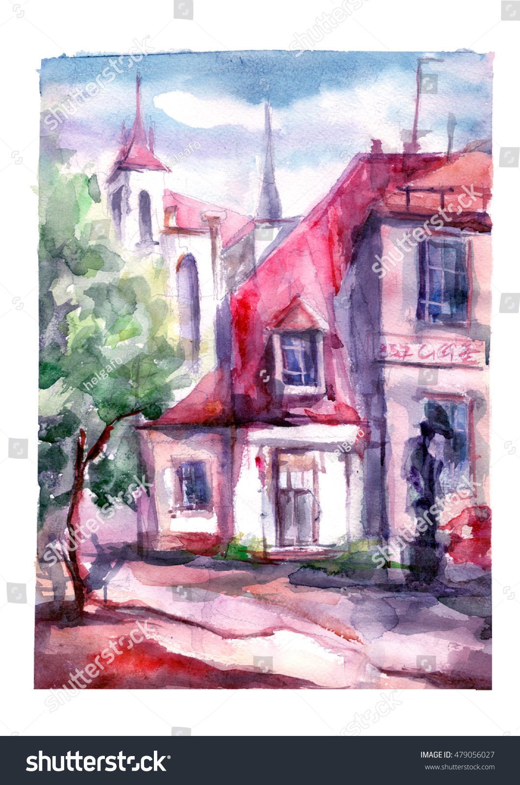 Watercolor painting - urban street, house, landscape. | EZ Canvas