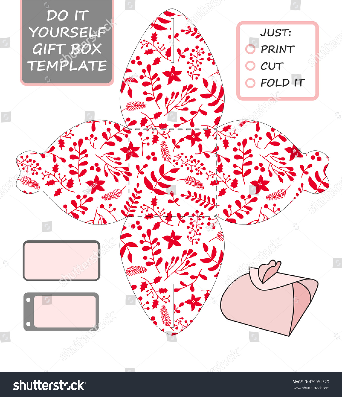 Christmas Vector Packaging Template Favor Gift Stock Vector Royalty