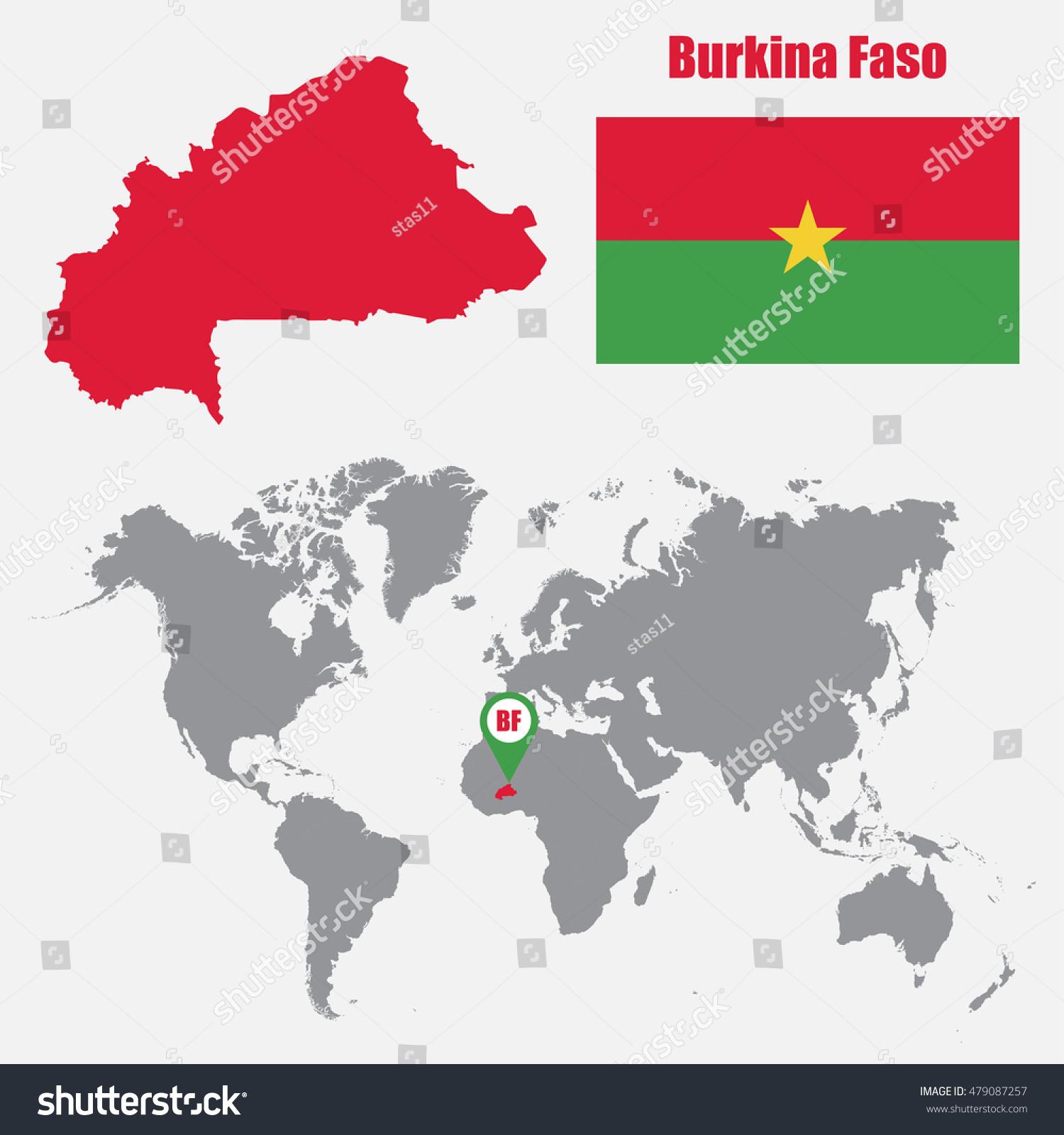 Burkina Faso Map On World Map Stock Vector Royalty Free 479087257