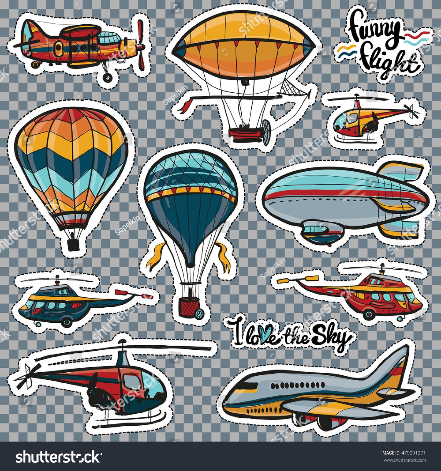 big set cartoon air transport balloons stock vector 479091271