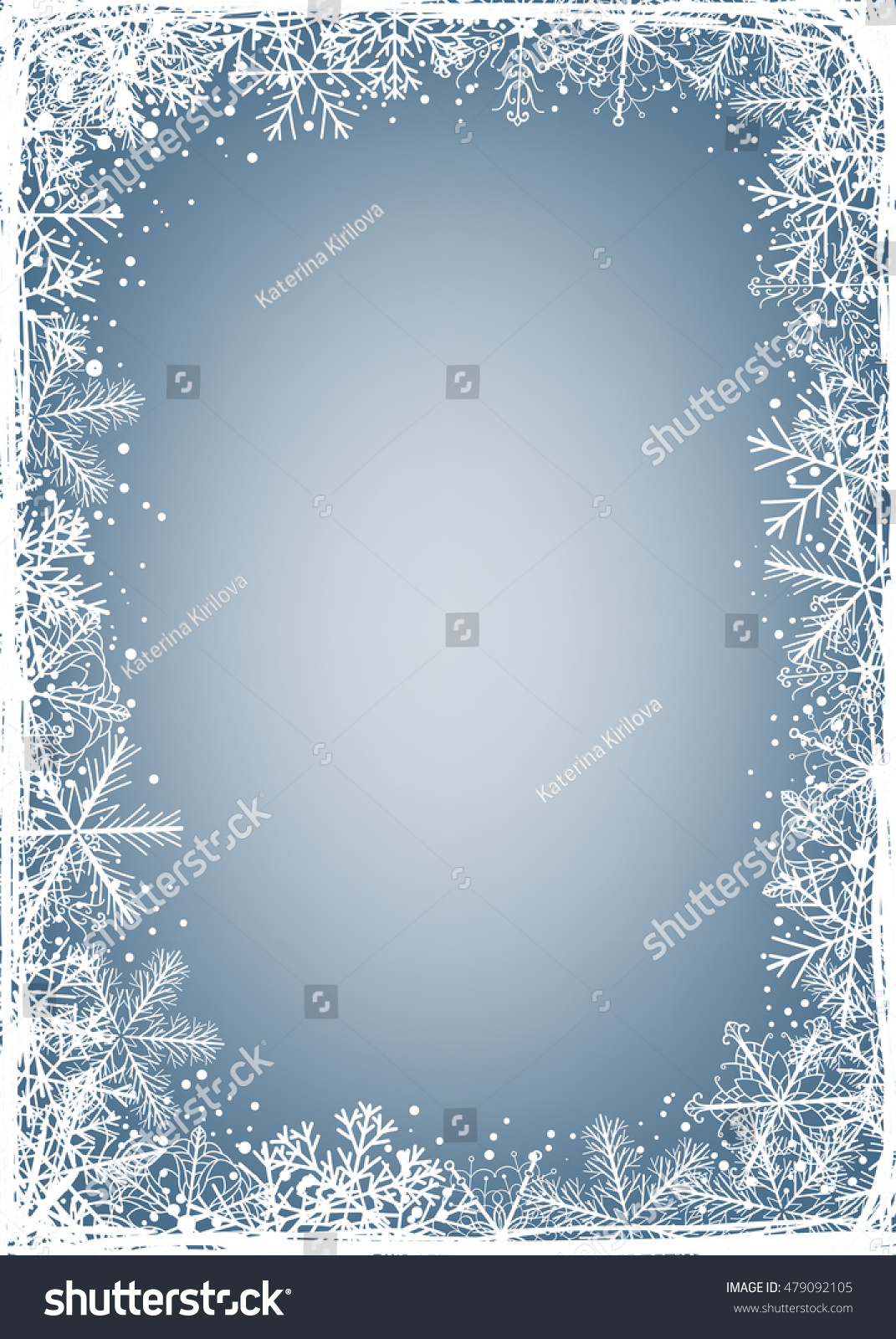 Winter Background Frame Made Fluffy Snowflakes Stock Vector (2018 ...