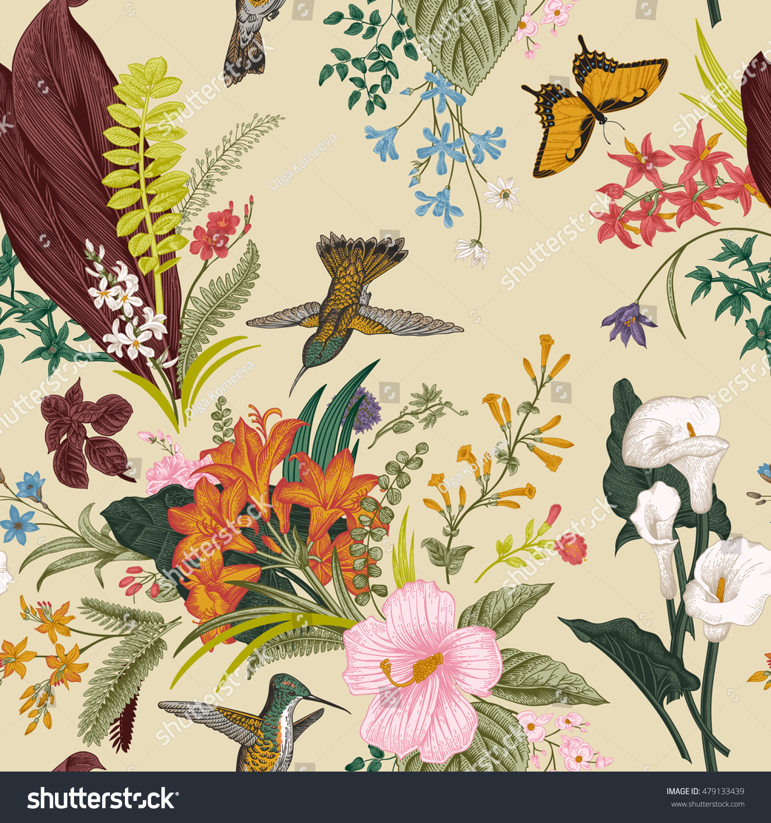 Vector Seamless Vintage Floral Pattern Exotic Stock Vector