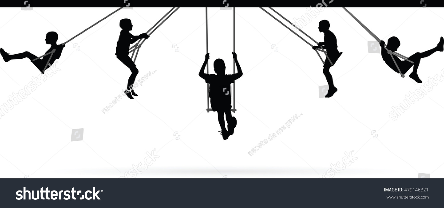 Boy swinging on swing collection vector illustration