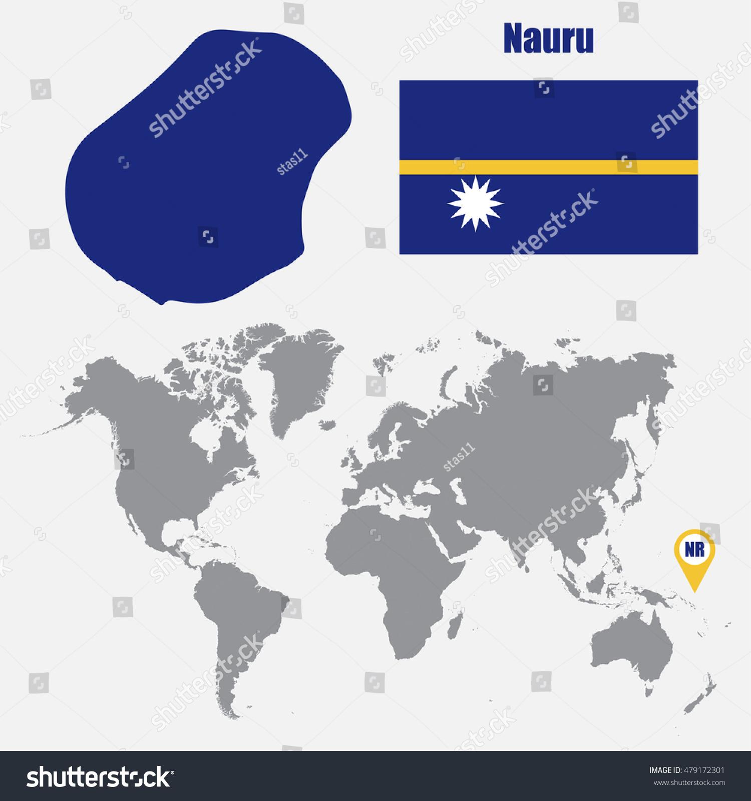 Nauru Map On World Map Flag Stock Vector Shutterstock - Nauru map vector