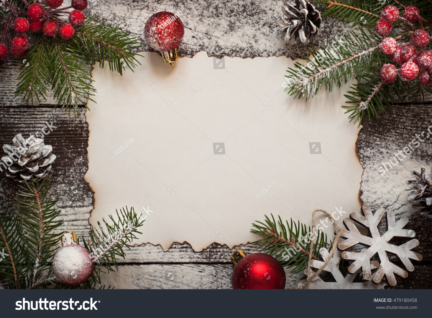 Old Paper Sheet Snow Christmas Decorations Stock Photo Edit Now