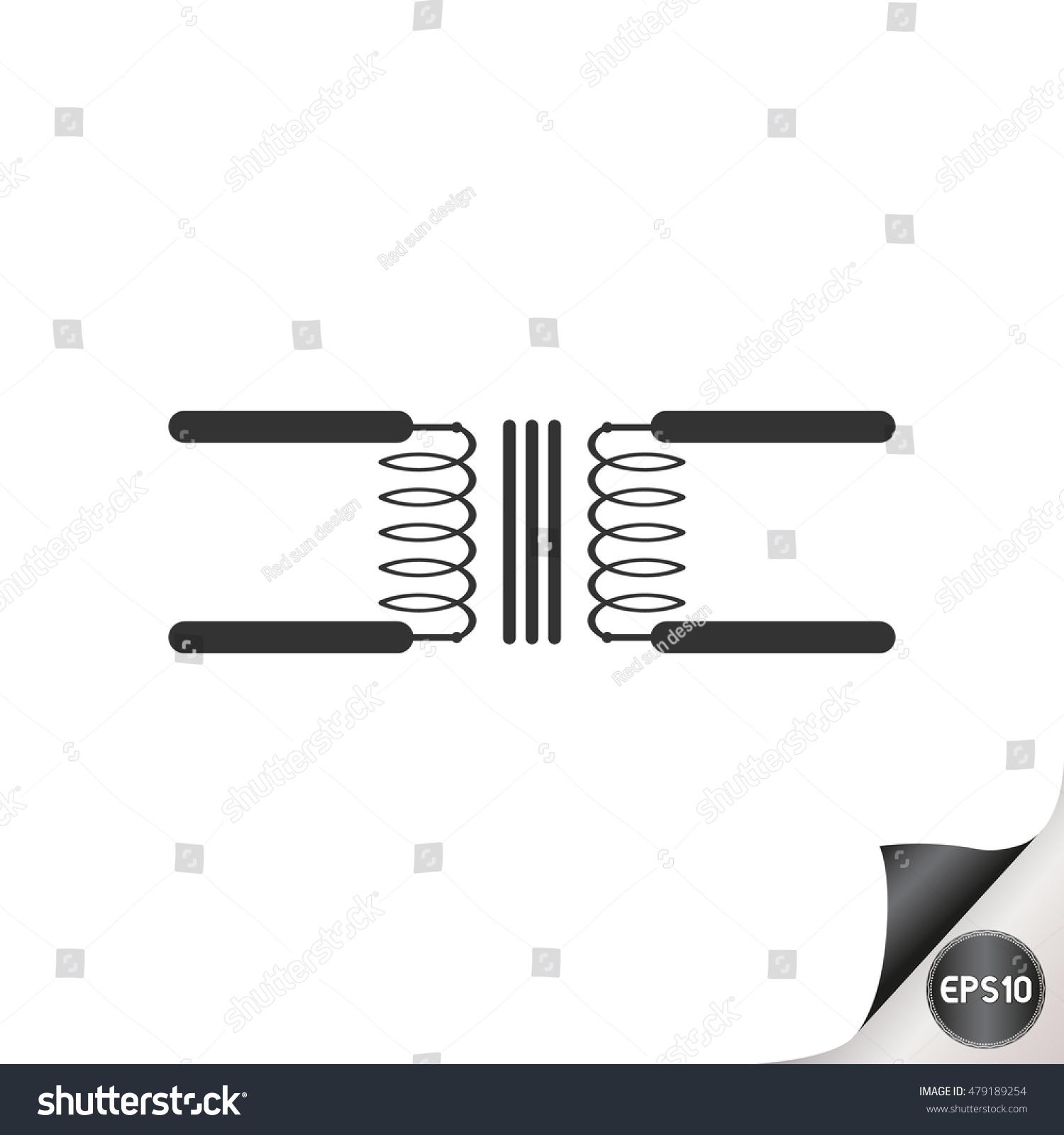 Electronic Circuit Symbols Transformer Stock Vector Royalty Free