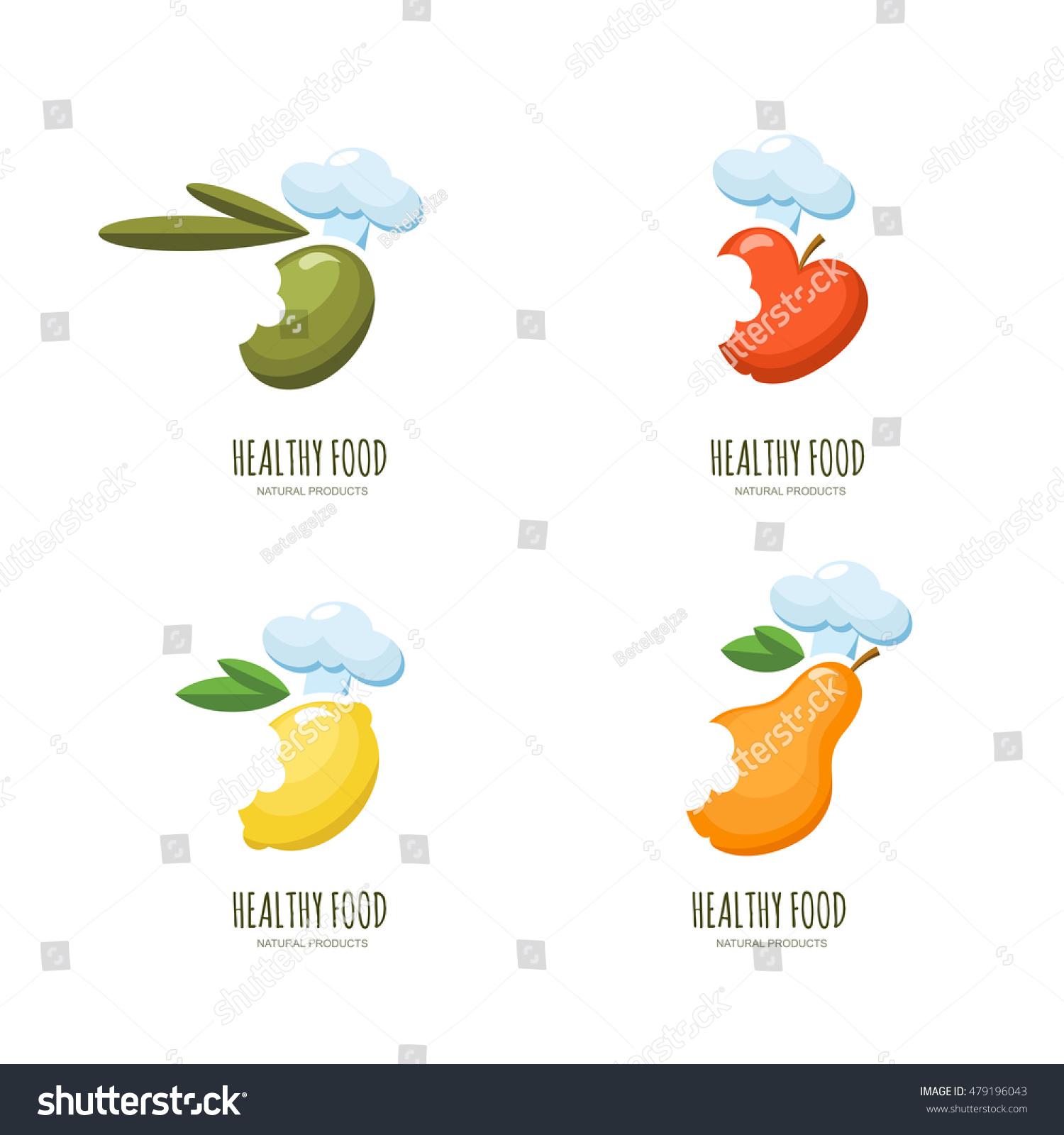 Set Vector Healthy Food Logo Emblem Stock Vector 479196043 ...