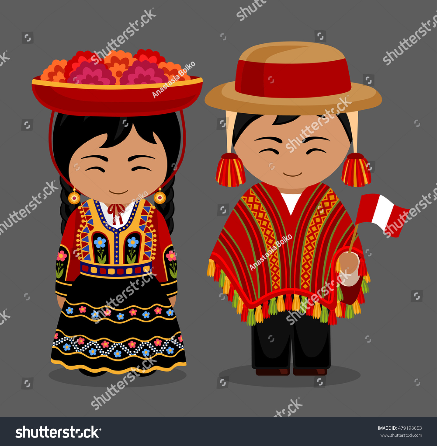 Peru Travel Tips Common Peruvian Phrases For Travel: Peruvian National Dress Man Woman Traditional Stock Vector