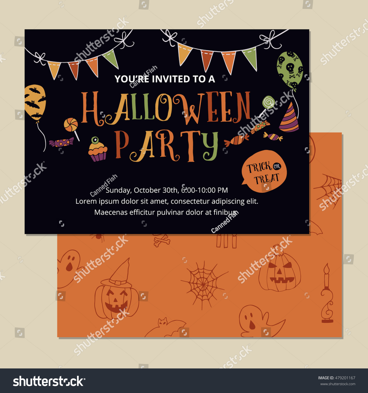 Halloween Party Invitation Card Design Template Stock Vector ...