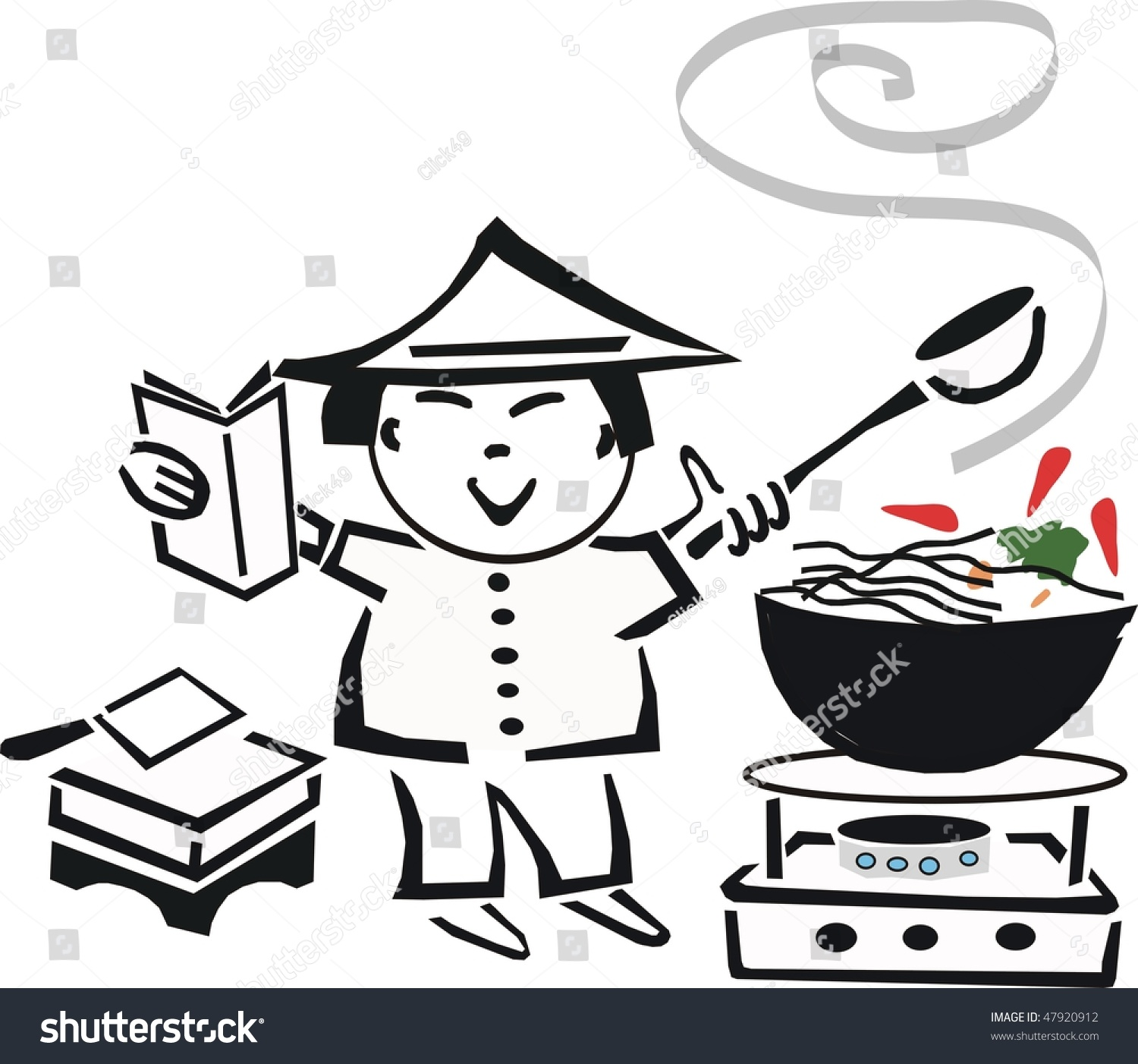 Asian black and white clip art