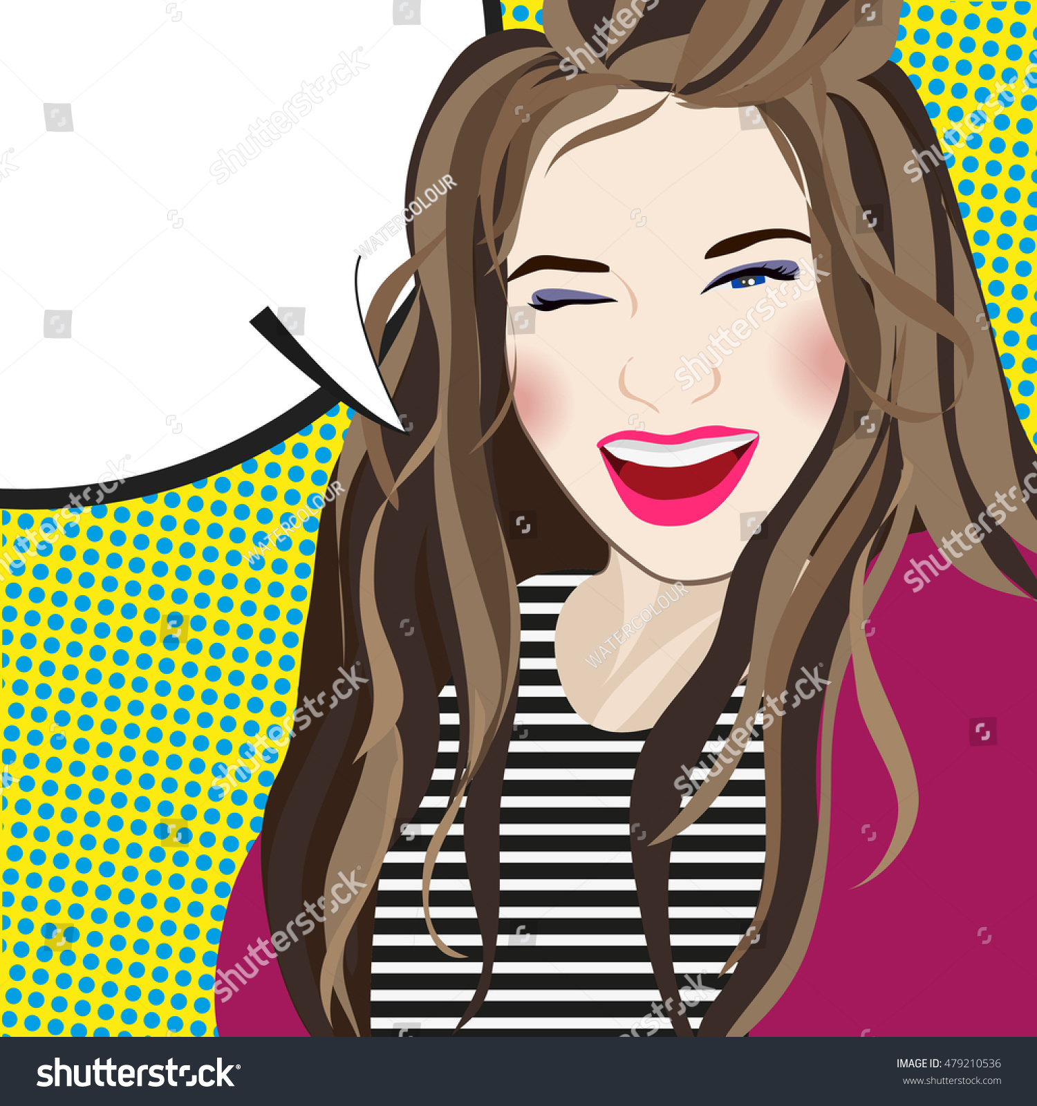 Pop Art Girl Smiling And Happy Funny Woman In Comic Book Style Vector Illustration