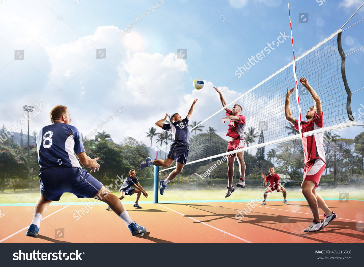 Active Young Women Volleyball Player Sport Stock Vector: Professional Volleyball Players Action On Court Stock