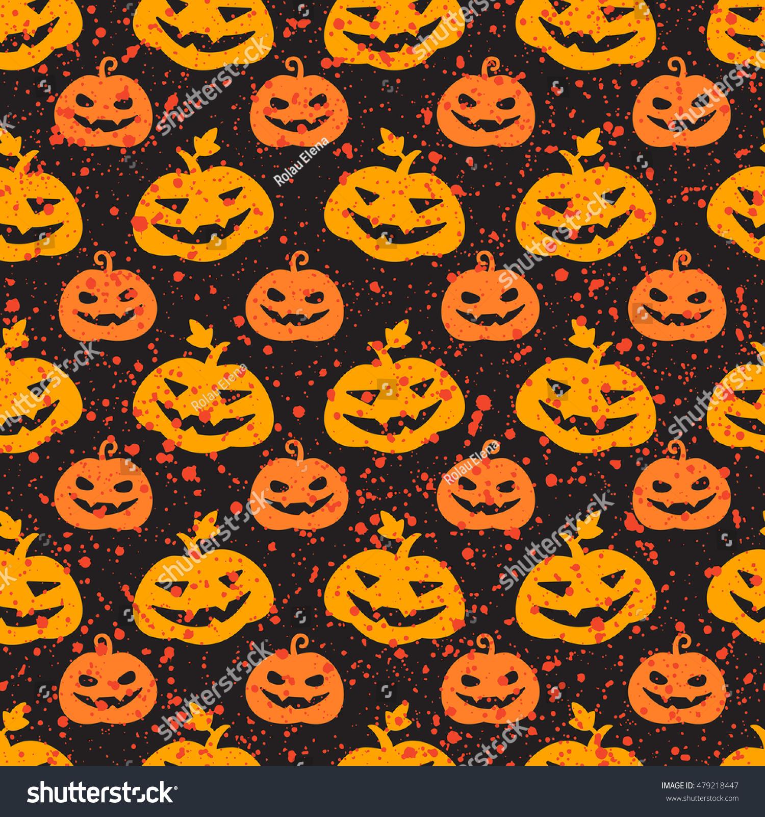 Halloween Pumpkin Seamless Vector Pattern Cute Stock Vector ...