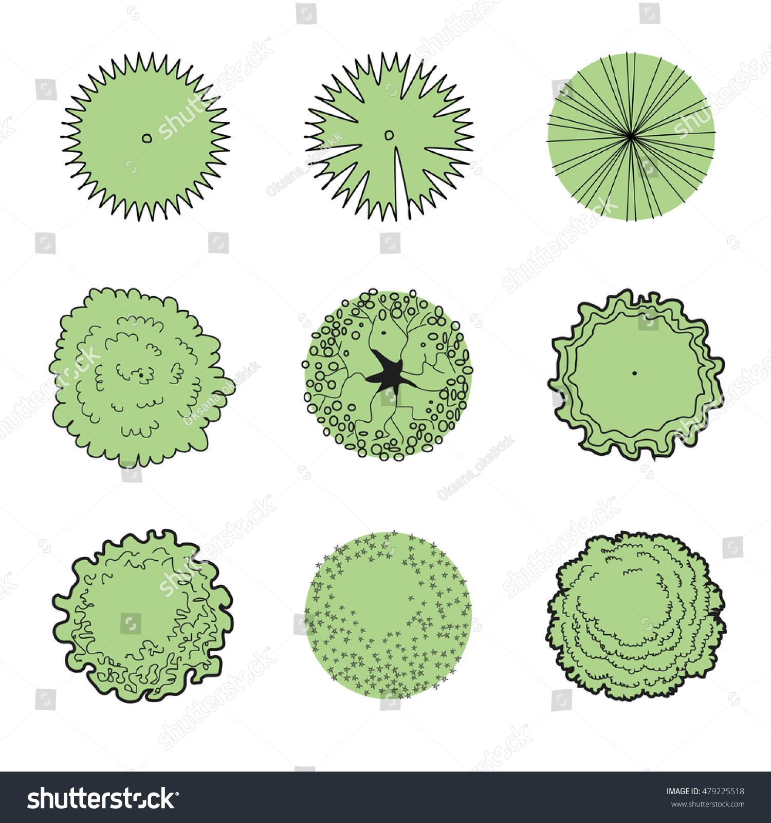 Trees Set Top View Plan Architectural Stock Vector (2018) 479225518 ... for tree plan view vector  587fsj