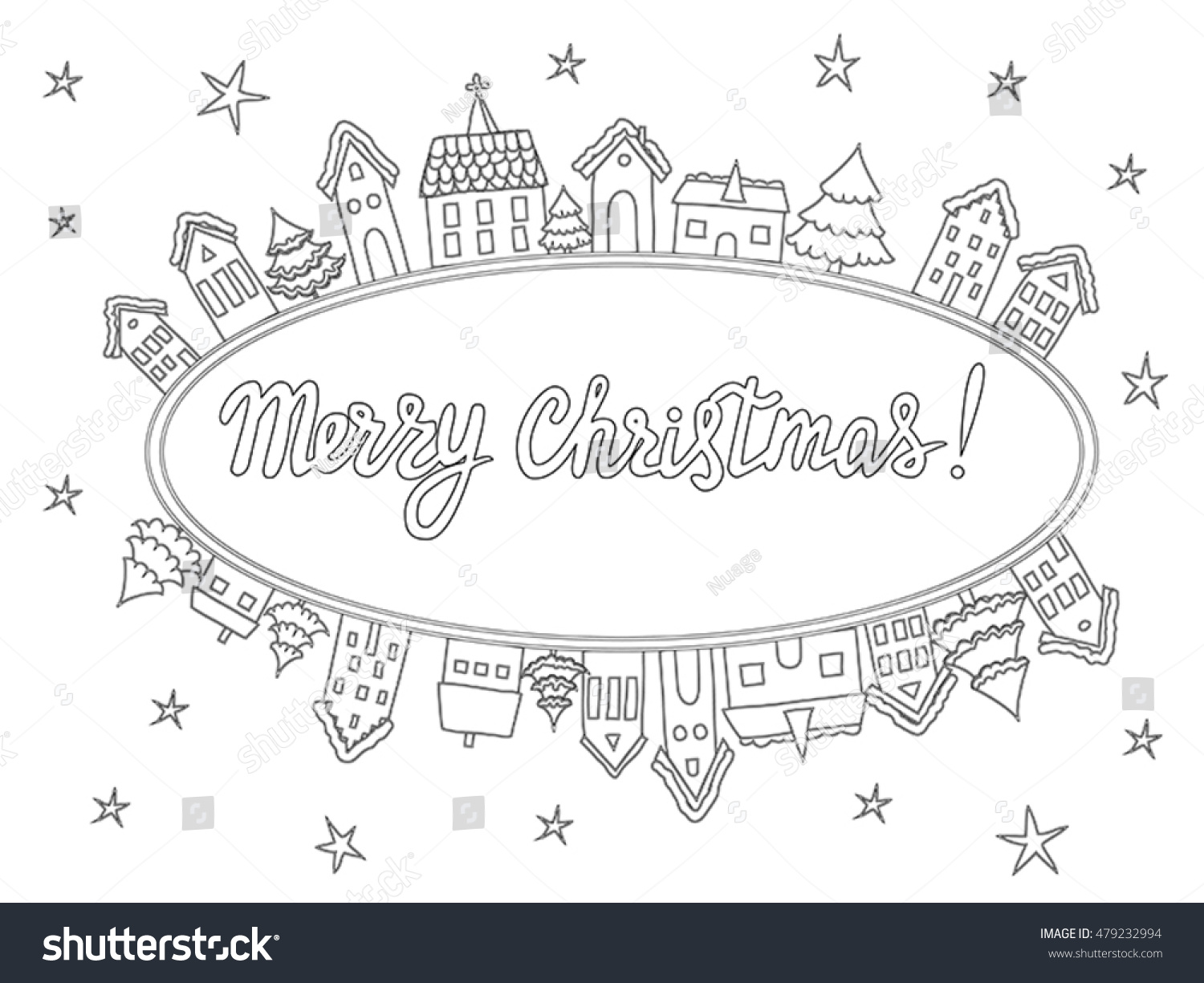 Christmas cards coloring - Vector Template For Coloring Pages Christmas Cards Invitations Backgrounds In Black And White