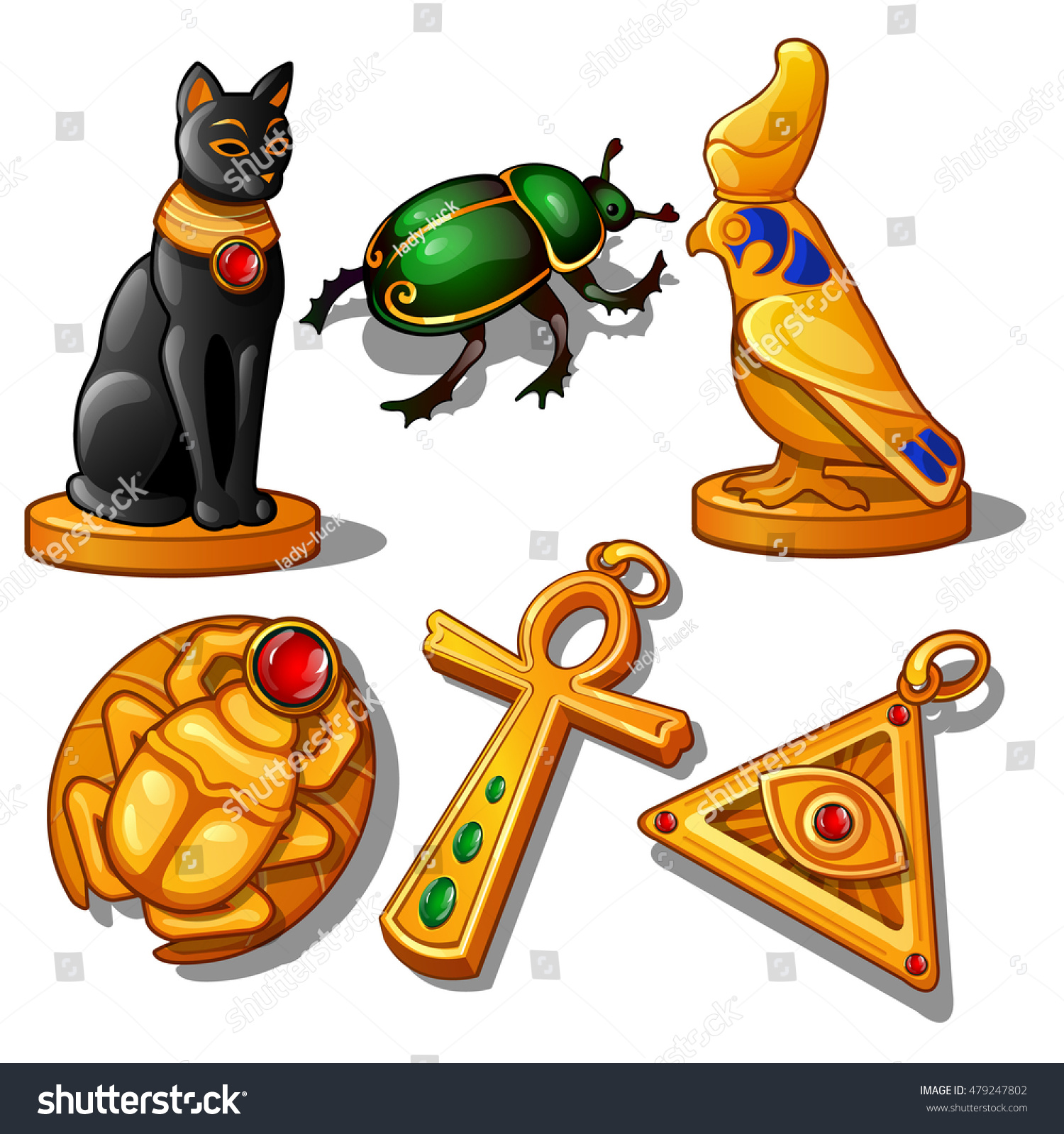 Ancient Figurines Animals Religious Symbols Made Stock Vector