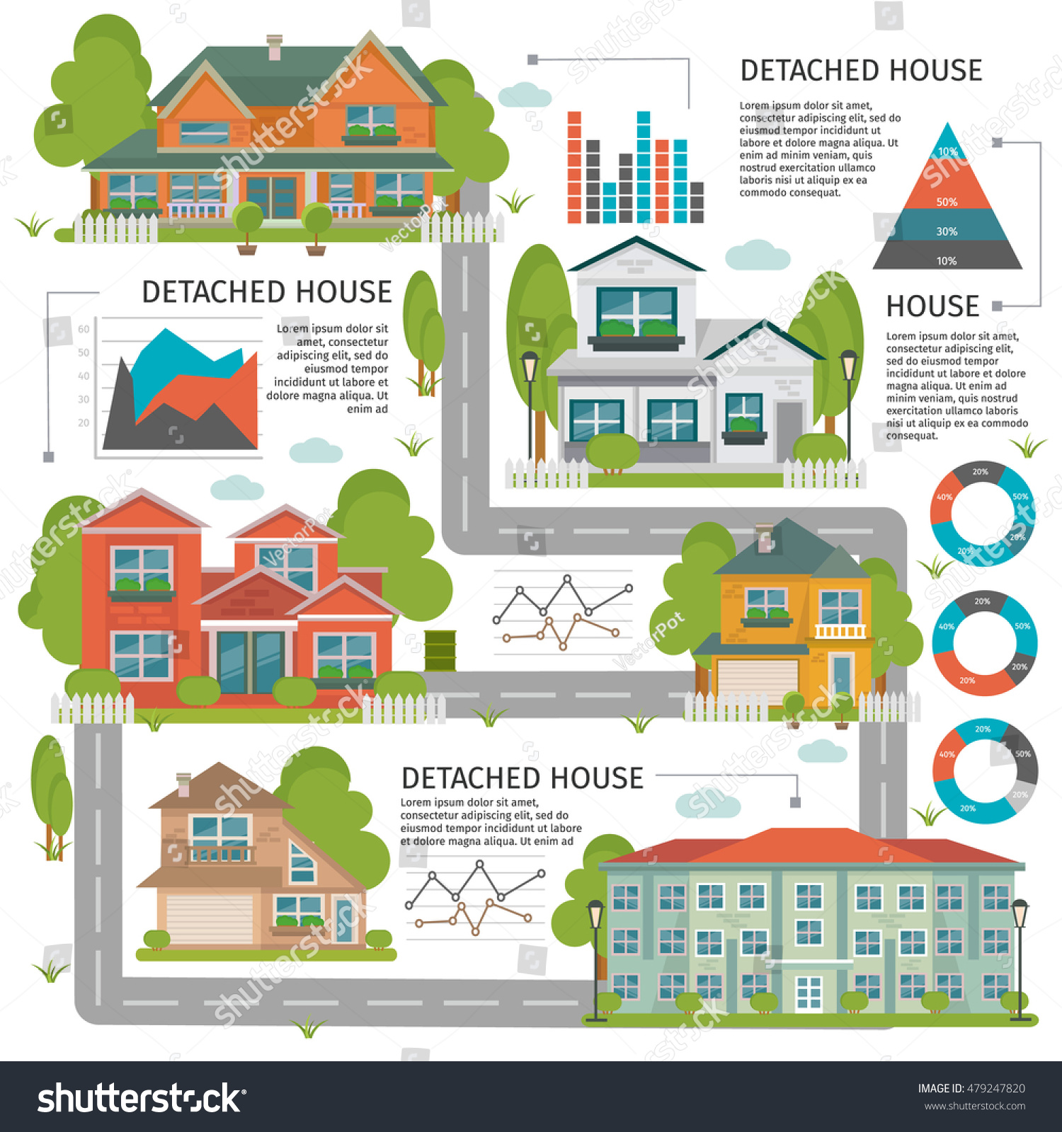 Apartments Around The World: Colored Buildings Flat Infographics Detached House Stock