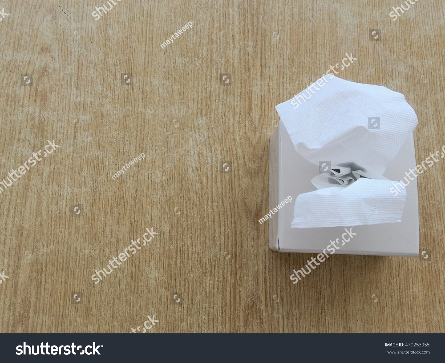 White Tissue Box On The Table Top View