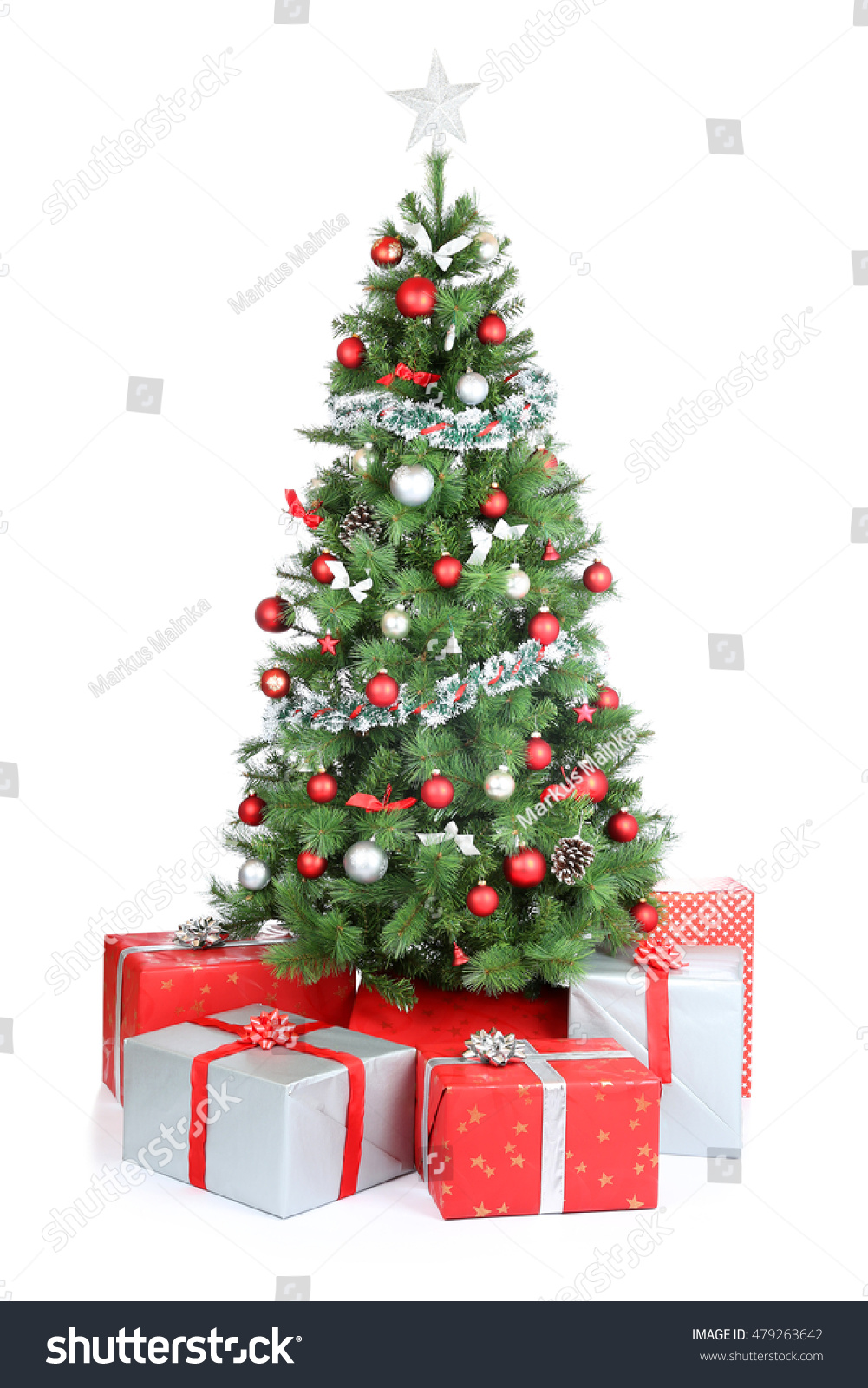 Christmas tree gifts present decoration isolated stock for Decoration on a present