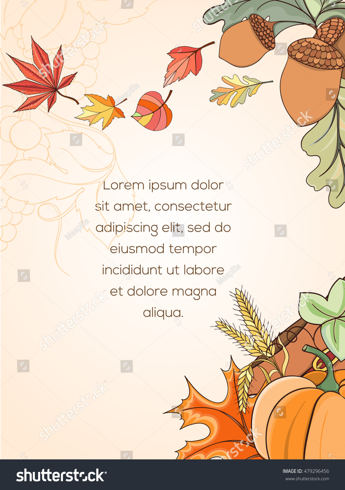 Thanksgiving Card Can Be Used Can Stock Vector 479296456 Shutterstock
