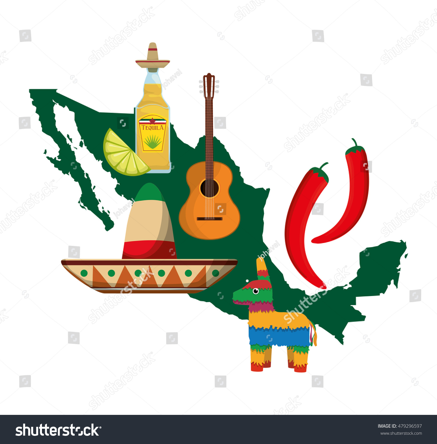 Map Guitar Tequila Hat Pepper Mexico Stock Vector 479296597