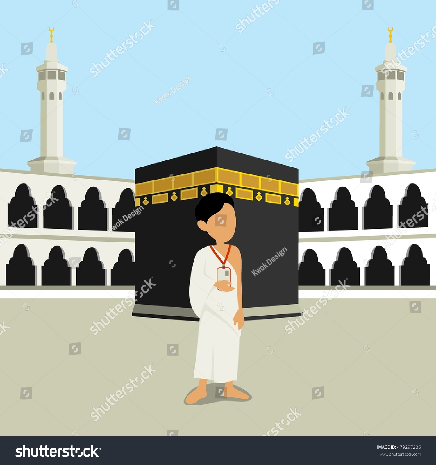 Man Character Wearing Ihram Clothes Performing Hajj or Umrah Pilgrimage with Kaaba in Makkah Background
