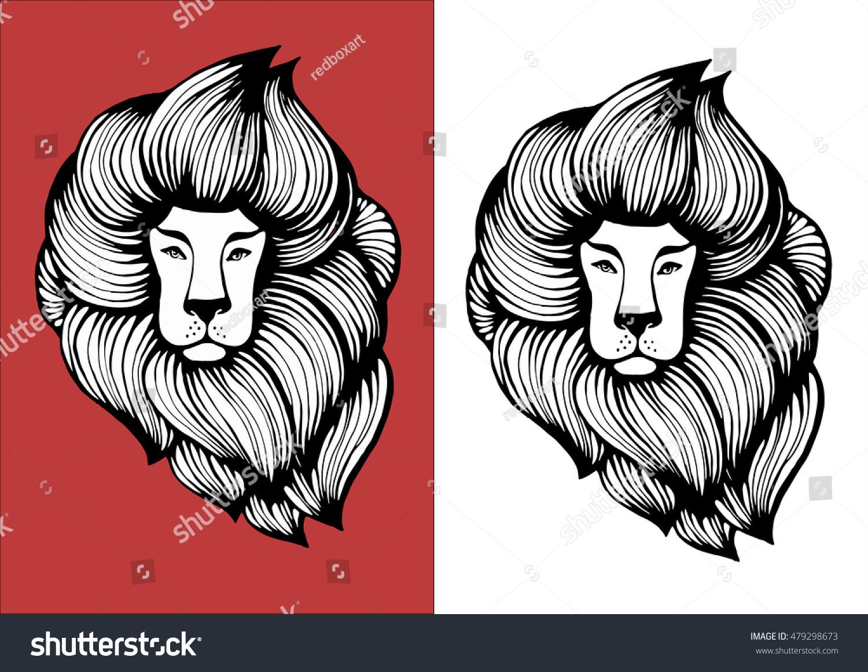 Vector Illustration Lion Head Stock Vector Stock Vector 479298673