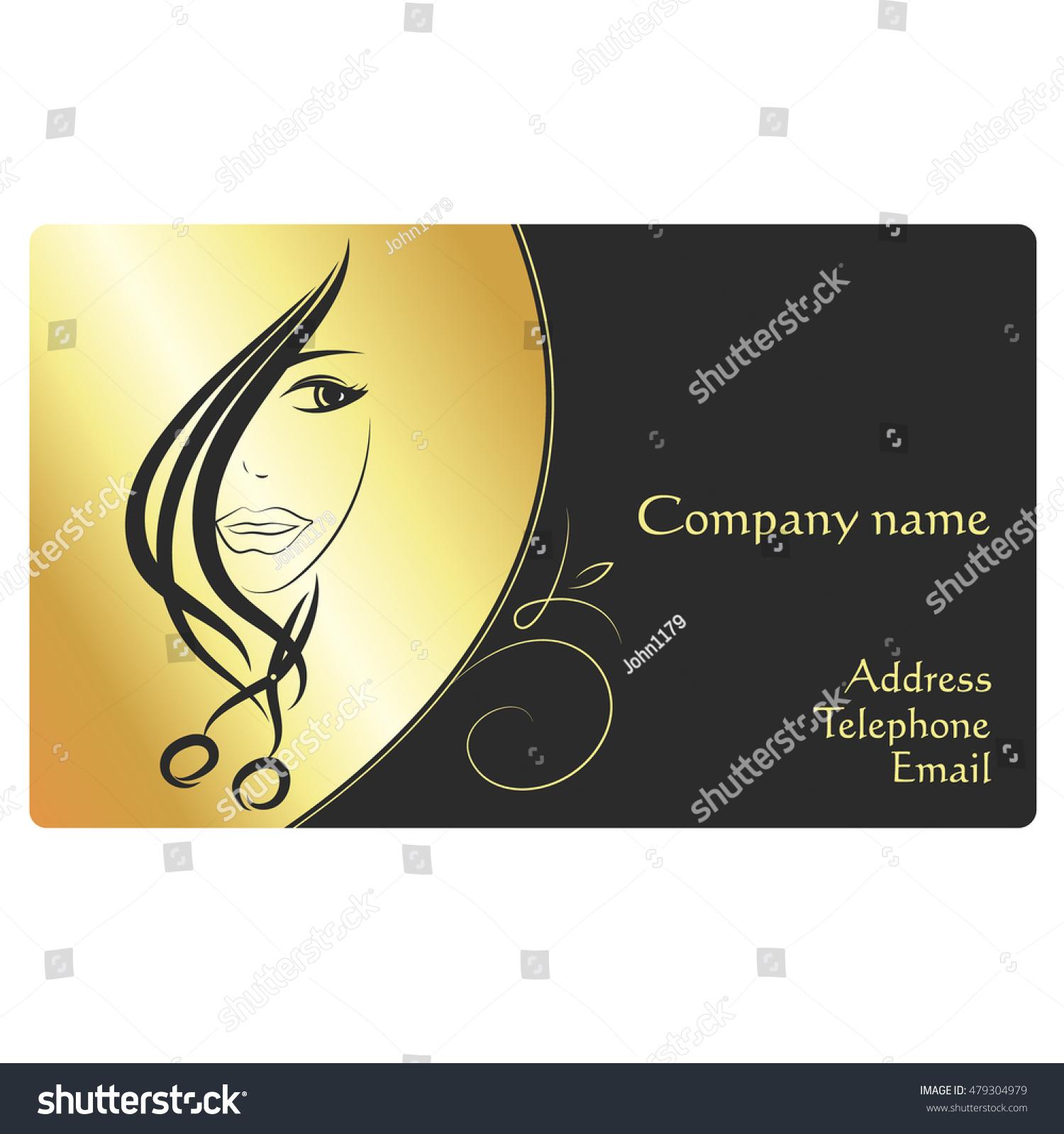 Beauty Salon Business Card Face Girl Stock Vector