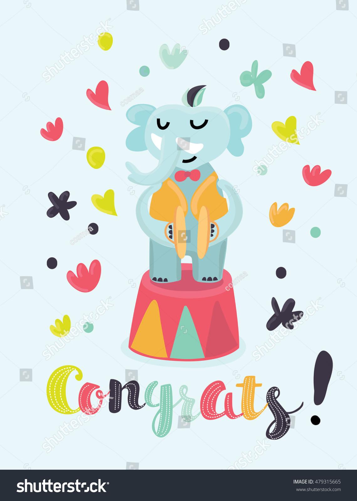 vector congratulations card circus musician elephant stock vector