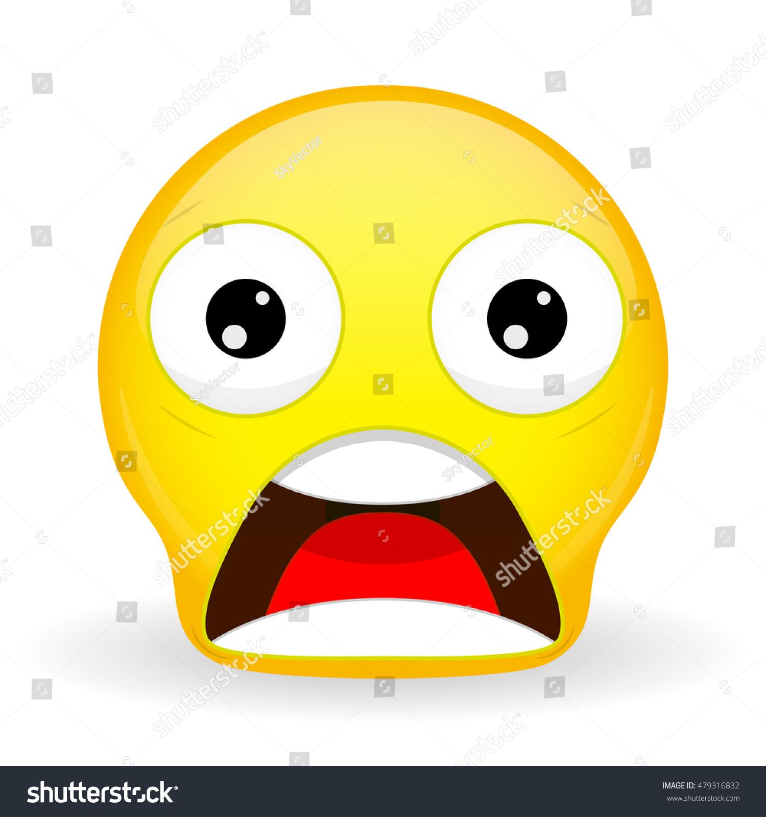 emoticon dropped jaw shock emoticon wow stock vector