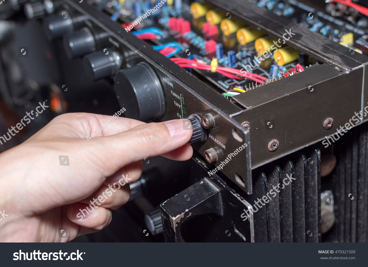 Hand Adjusting Volume Control Broadcasting Music Stock Photo Edit Circuit And Concept Audio Of Amplifier