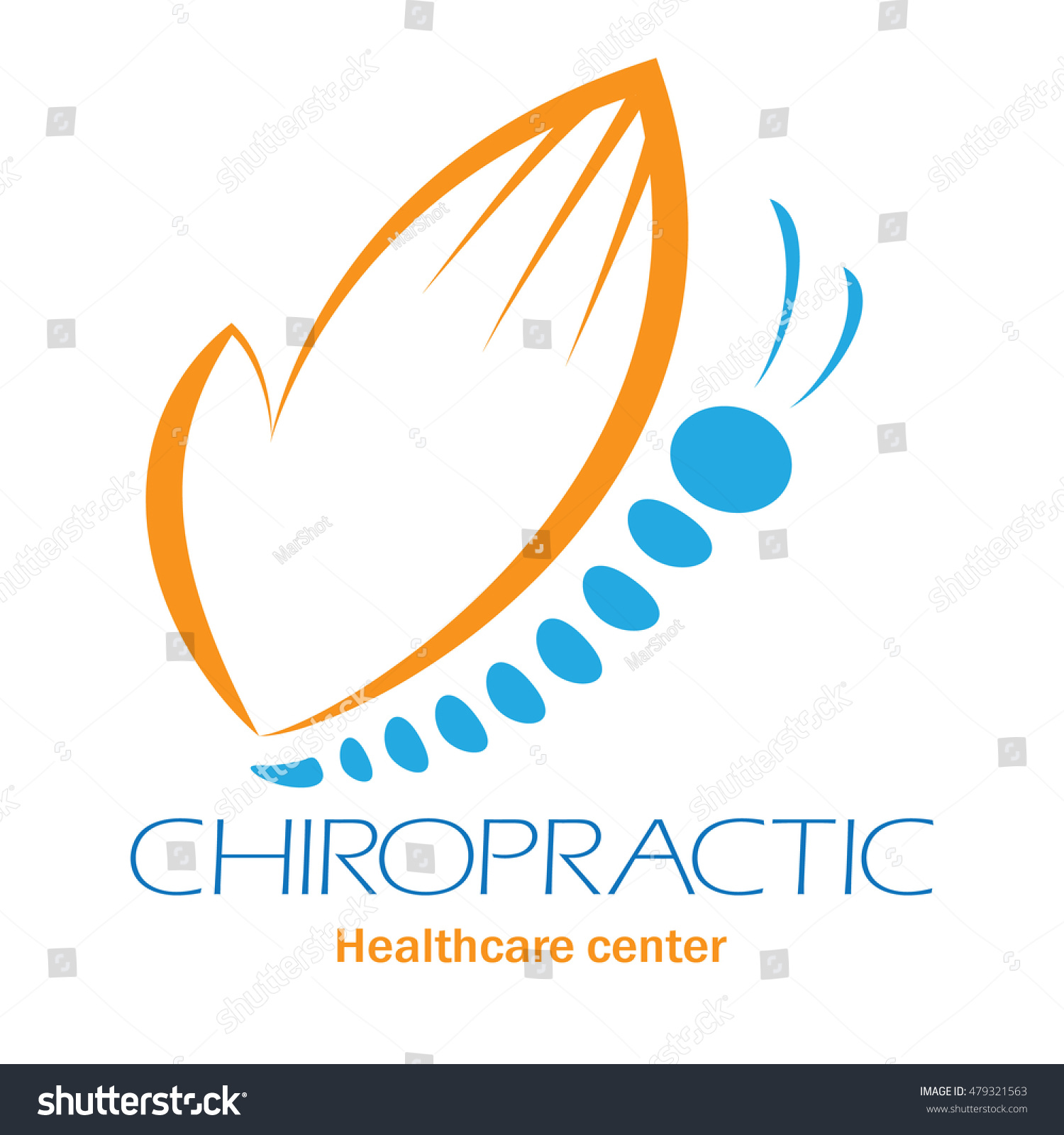 Chiropractic Clinic Logo With Butterfly, Symbol Of Hand ...