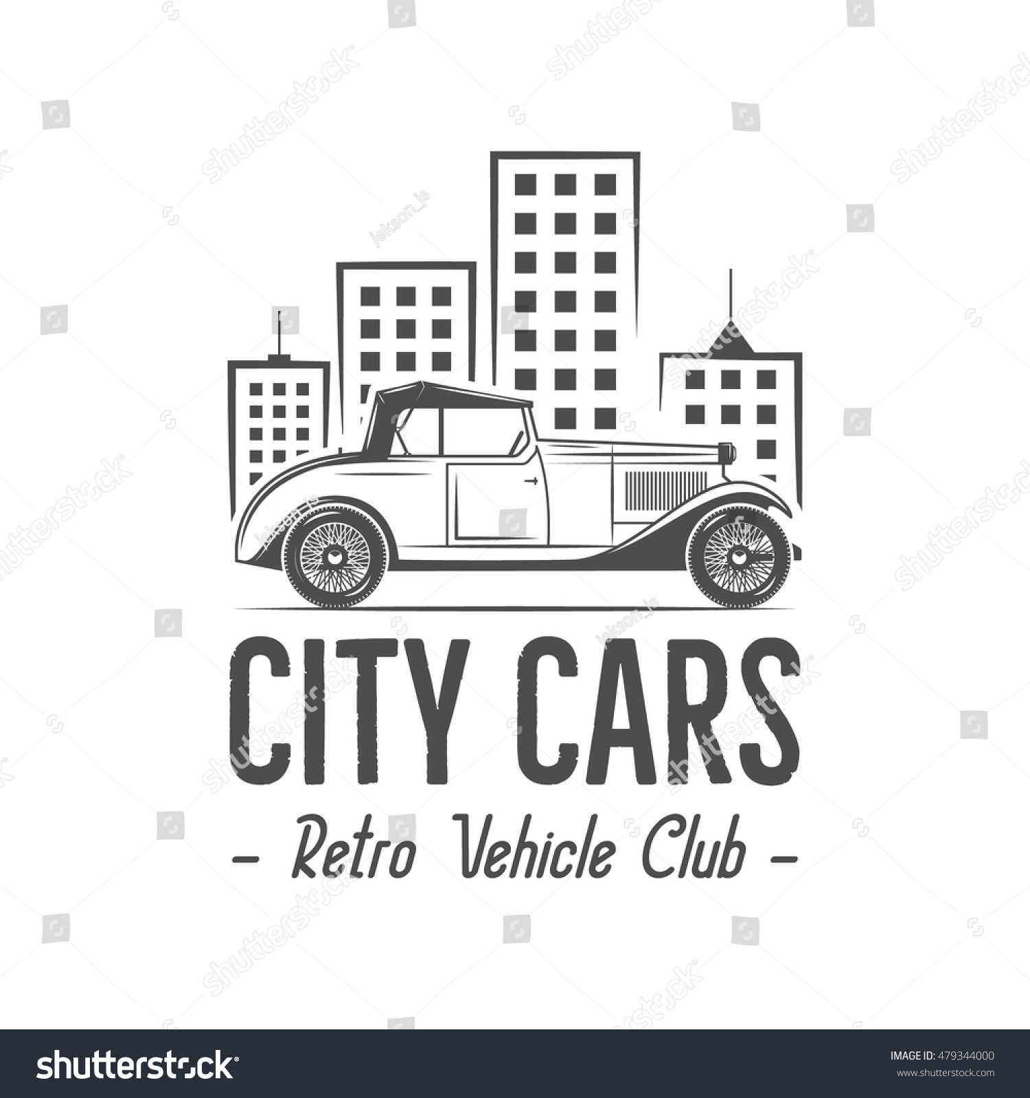 Vintage City Car Label Design Classic Stock Vector (Royalty Free