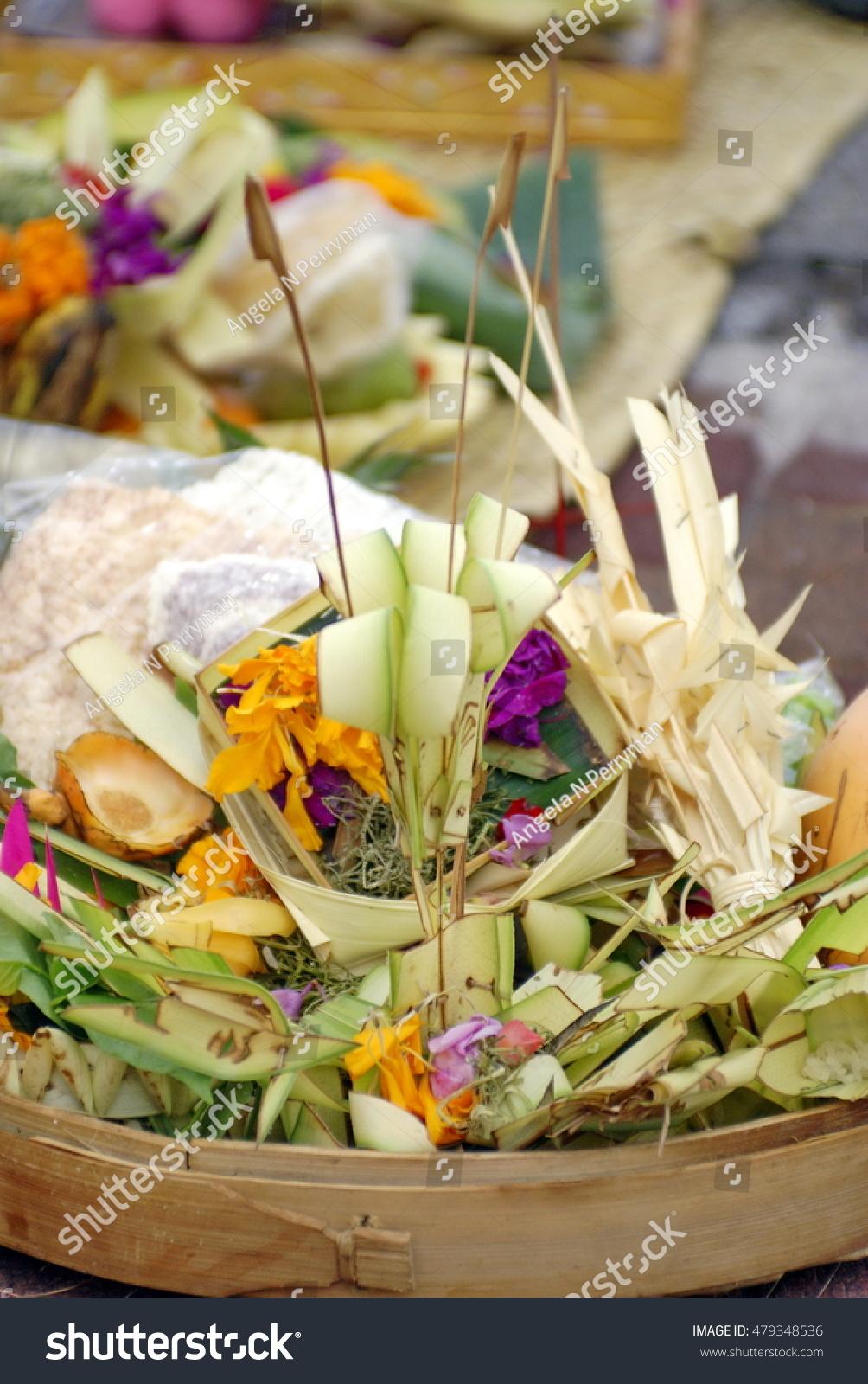 Balinese Hindu Funeral Offerings On Sanur Stock Photo Edit Now
