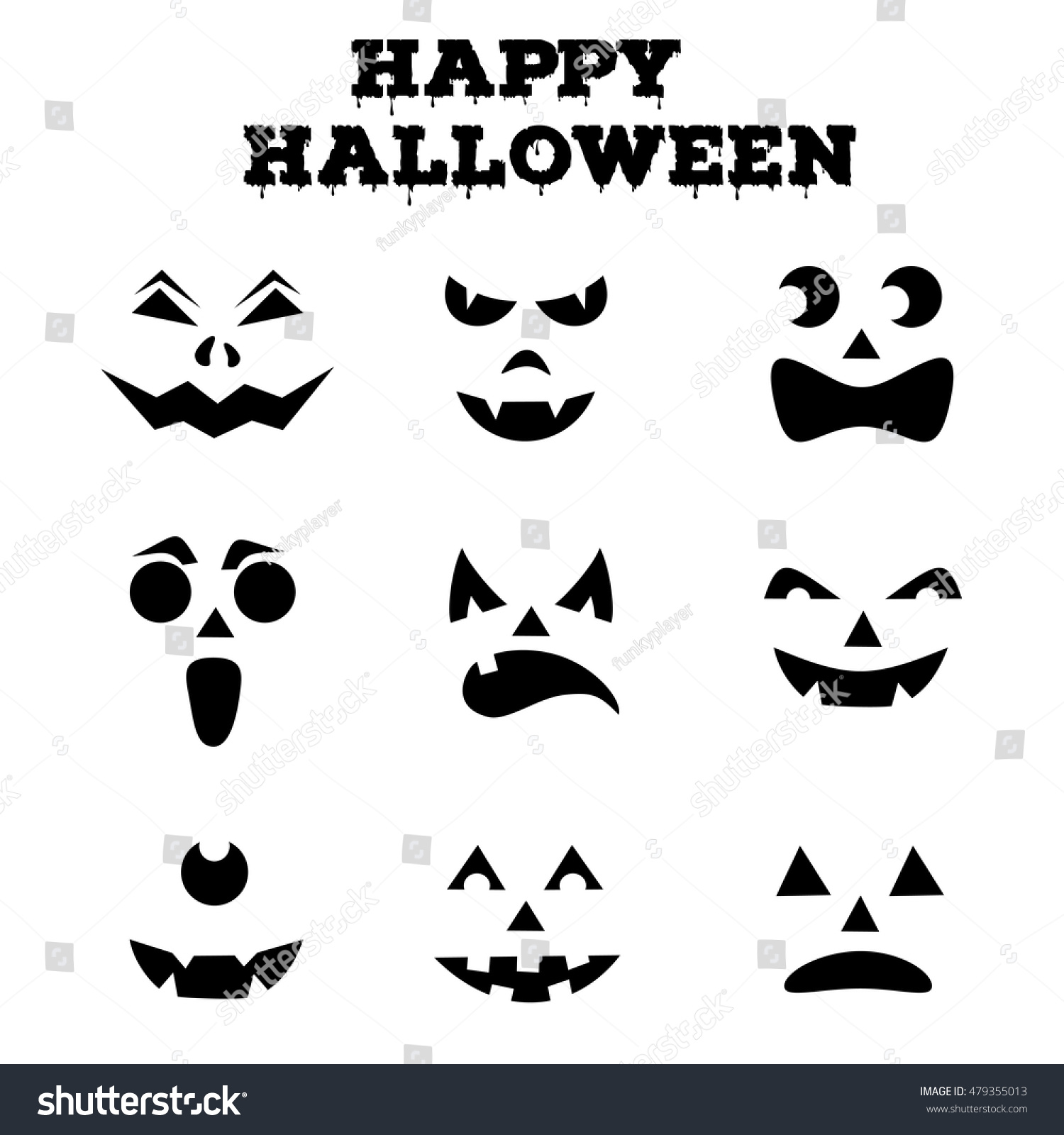 Collection Halloween Pumpkins Carved Faces Silhouettes Stock Vector
