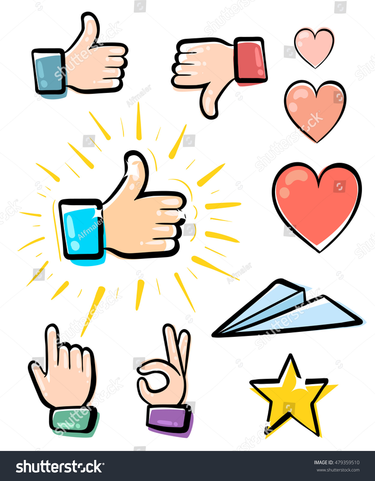 Set Hands Icons Symbols Emoji Different Stock Vector Royalty Free