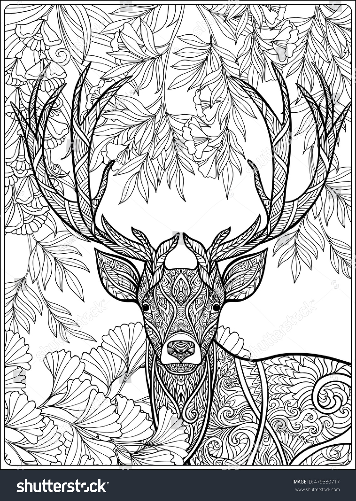 coloring page deer forest coloring book stock vector 479380717