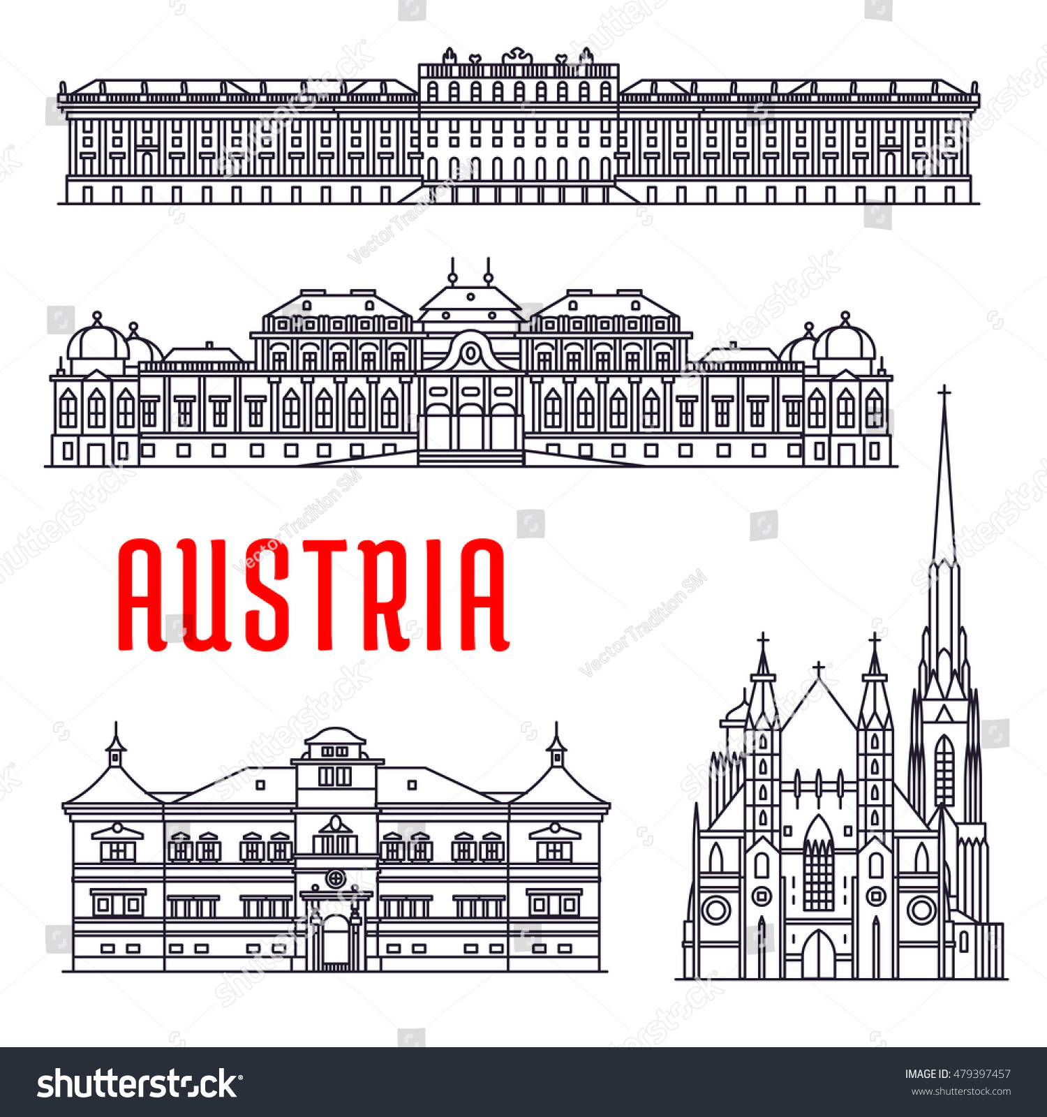 Historic Architecture Buildings Austria Vector Thin Stock Vector