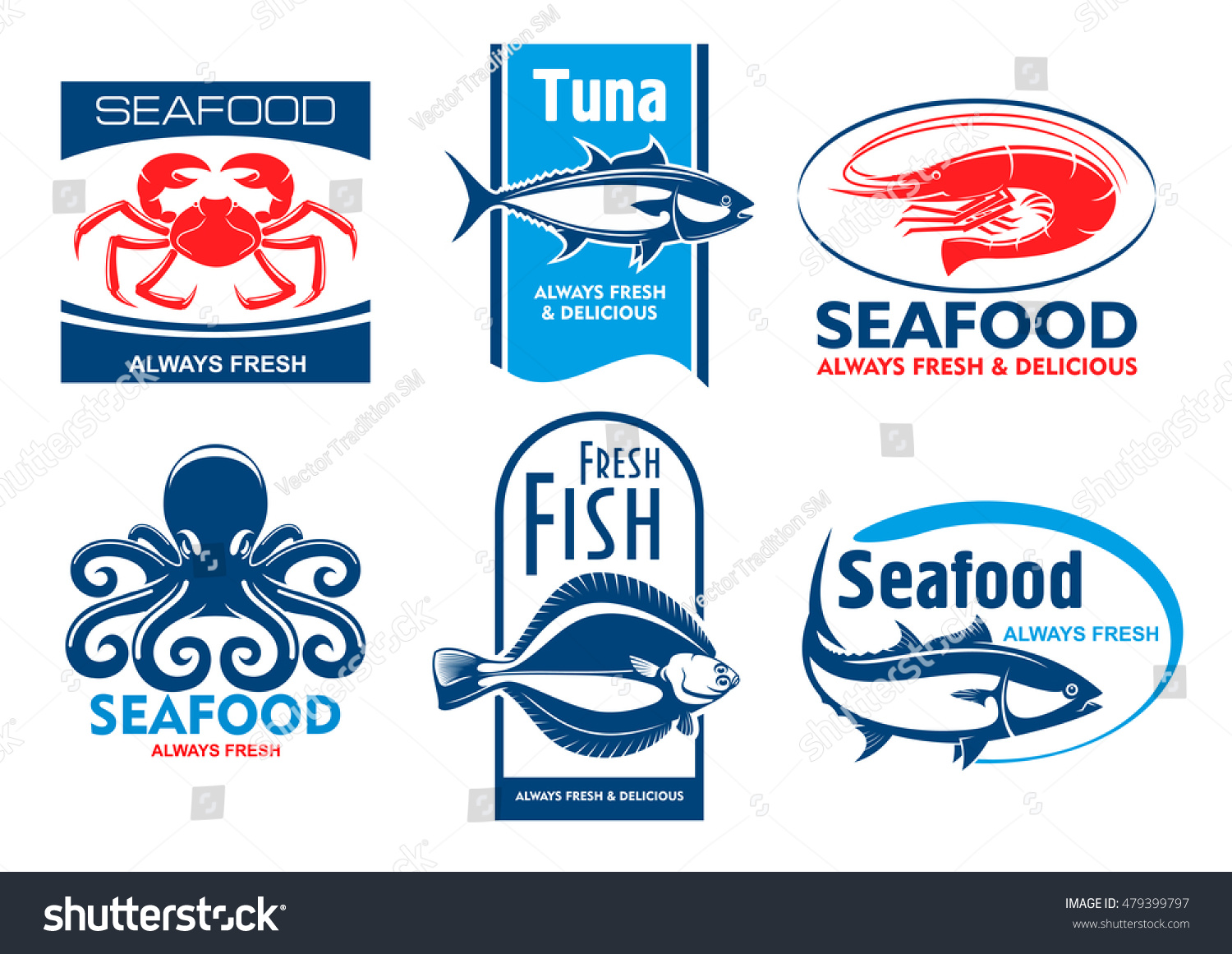 Seafood Products Tags Emblems Vector Icons Stock Vector Royalty